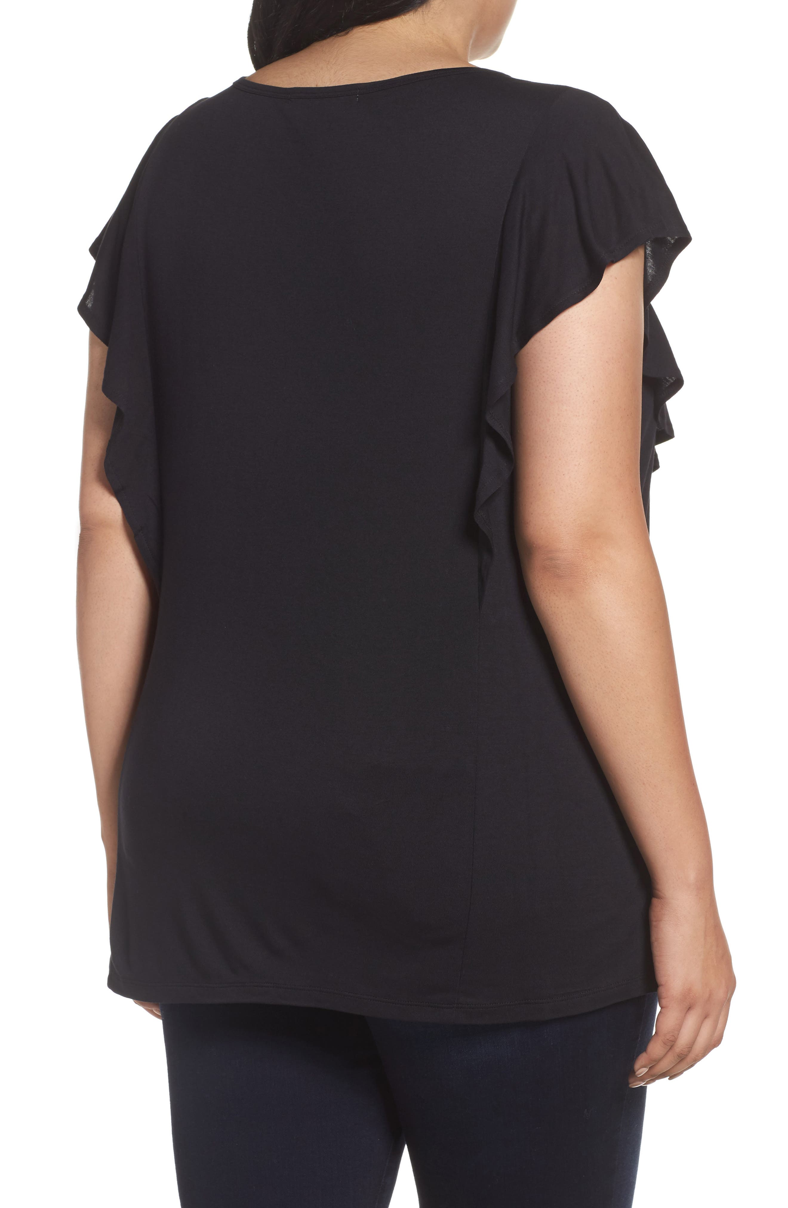 Alternate Image 2  - Sejour Lace Trim Ruffle Tee (Plus Size)