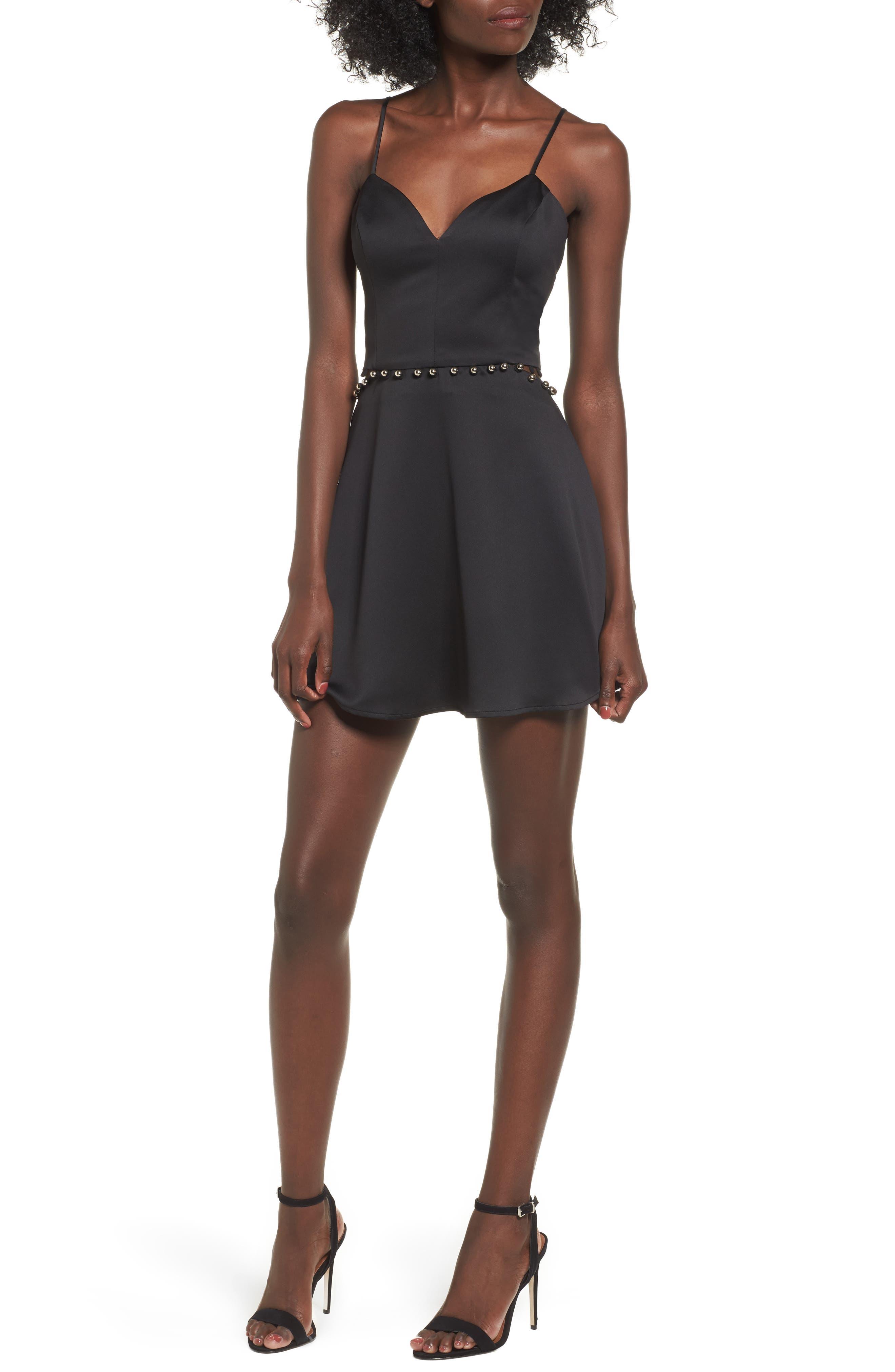 Brandi Fit & Flare Dress,                             Main thumbnail 1, color,                             Black