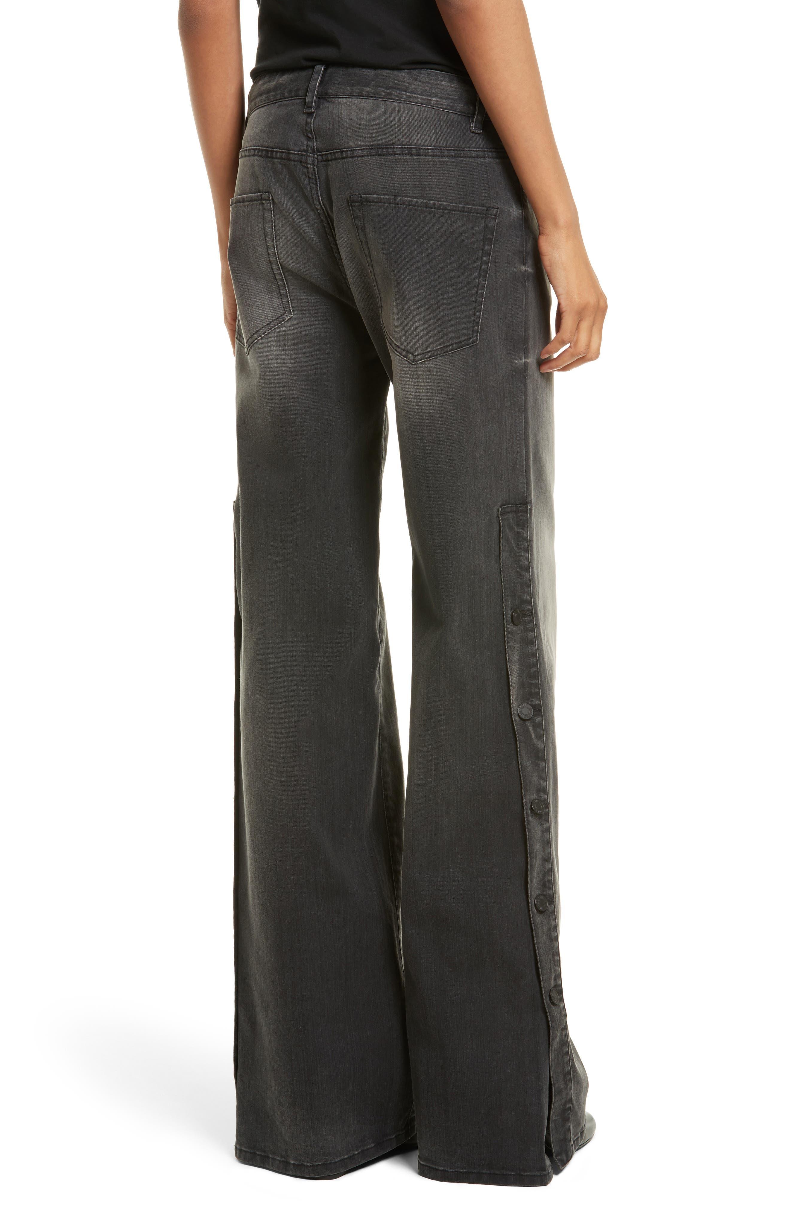 Alternate Image 2  - Nili Lotan Ena Side Button Detail Wide Leg Jeans