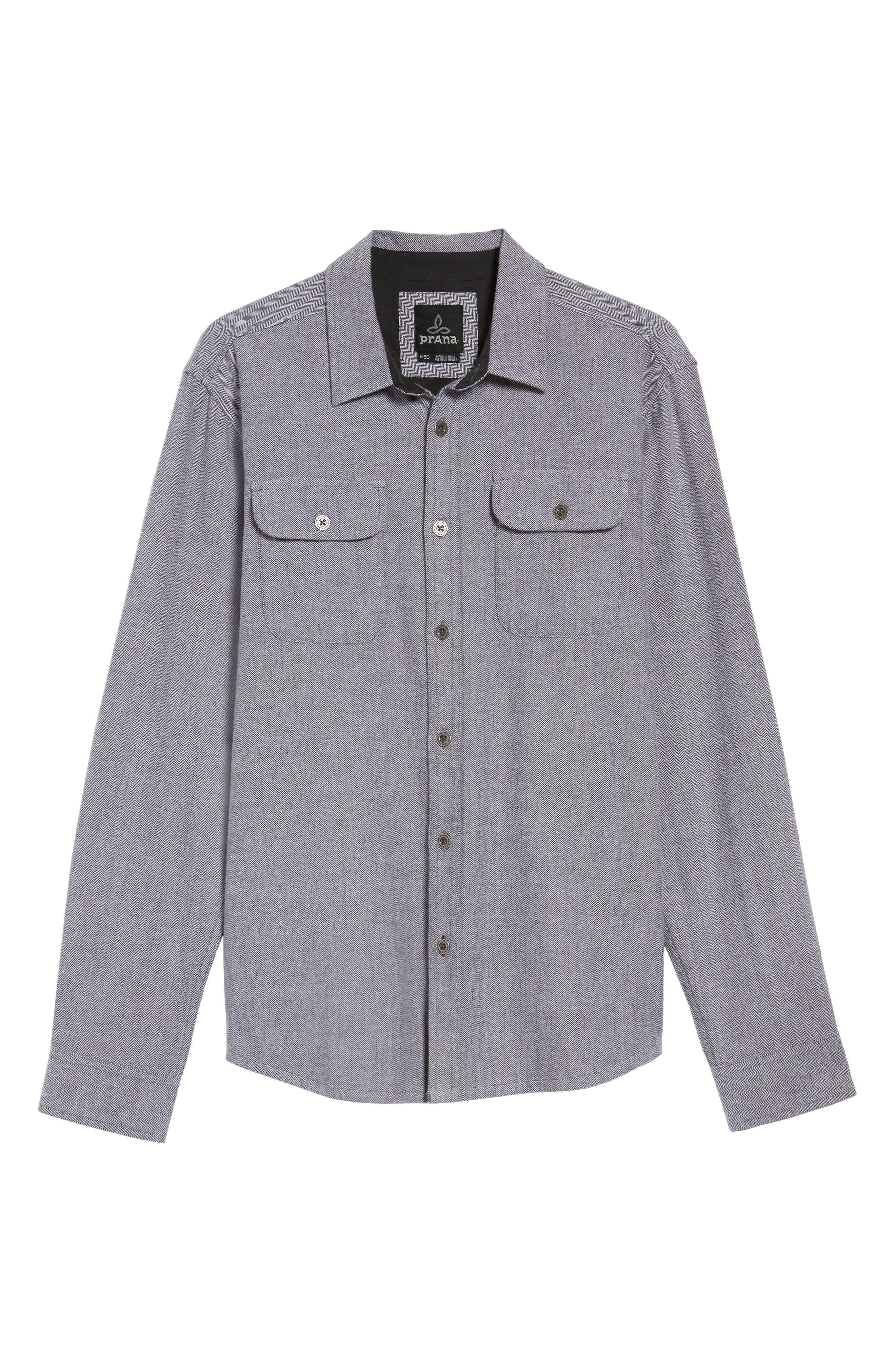 Lybek Regular Fit Herringbone Flannel Shirt,                             Alternate thumbnail 6, color,                             Gravel