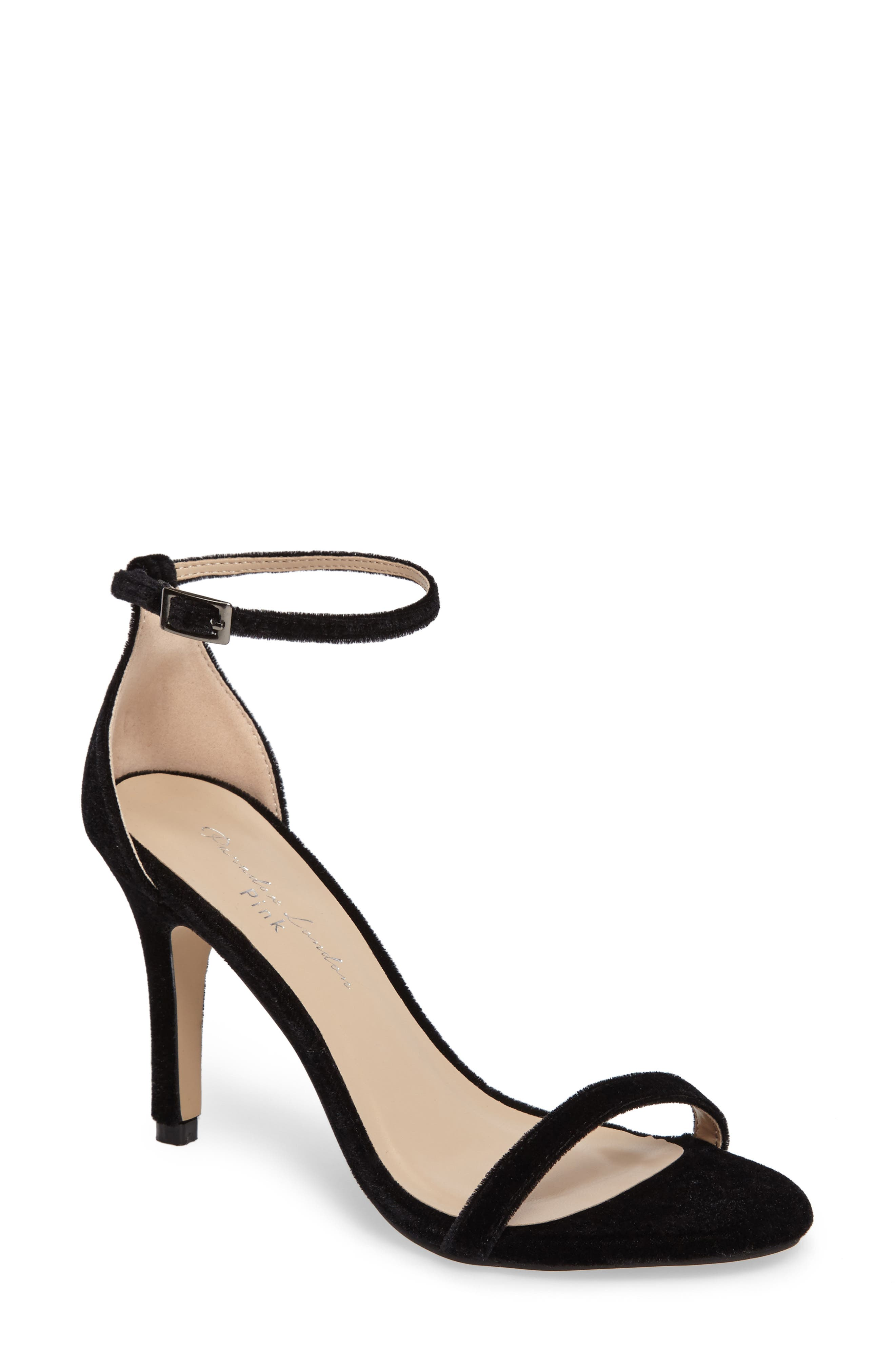 Mini Ankle Strap Sandal,                         Main,                         color, Black Velvet