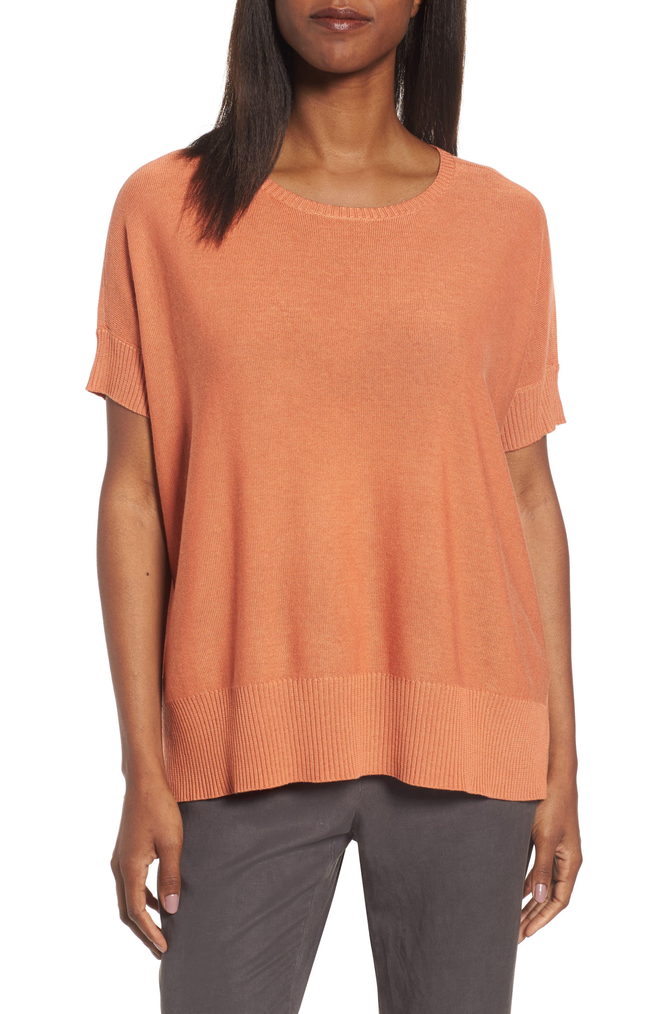 Main Image - Eileen Fisher Tencel® & Merino Wool Top (Regular & Petite)