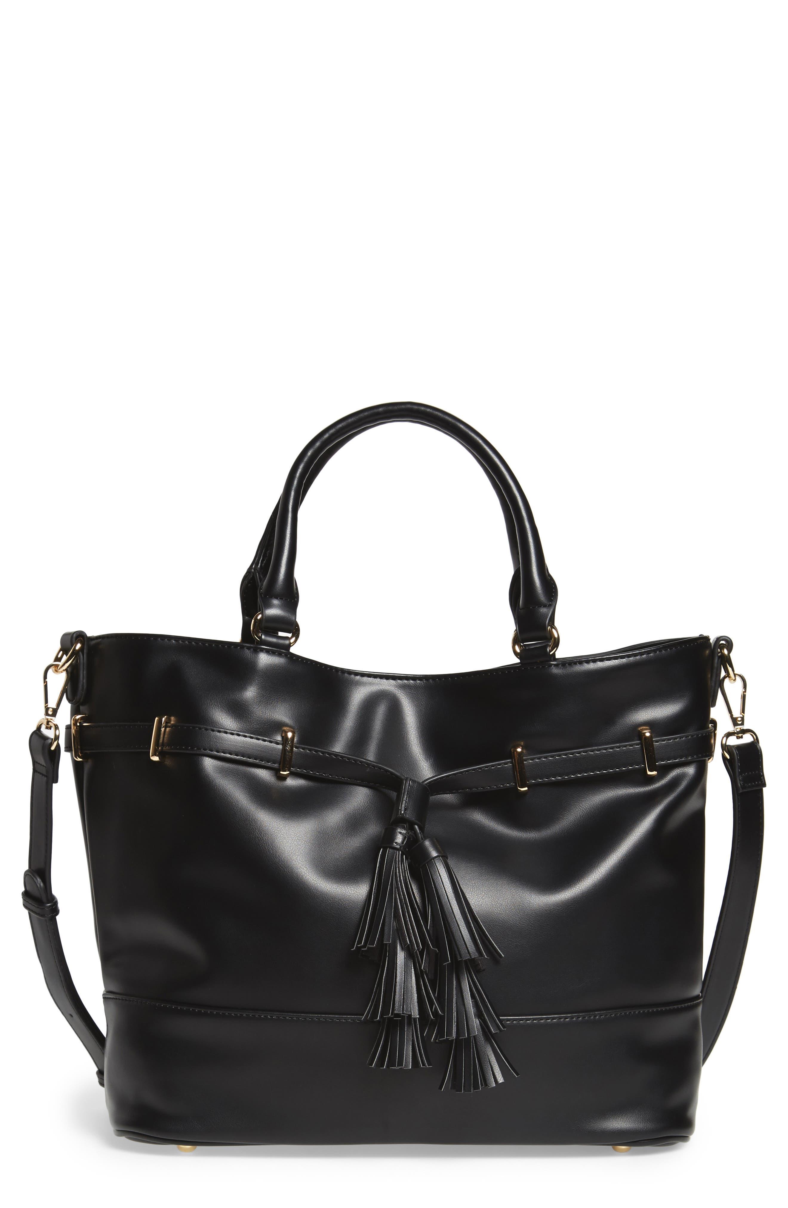Ryka Tassel Faux Leather Tote,                             Main thumbnail 1, color,                             Black