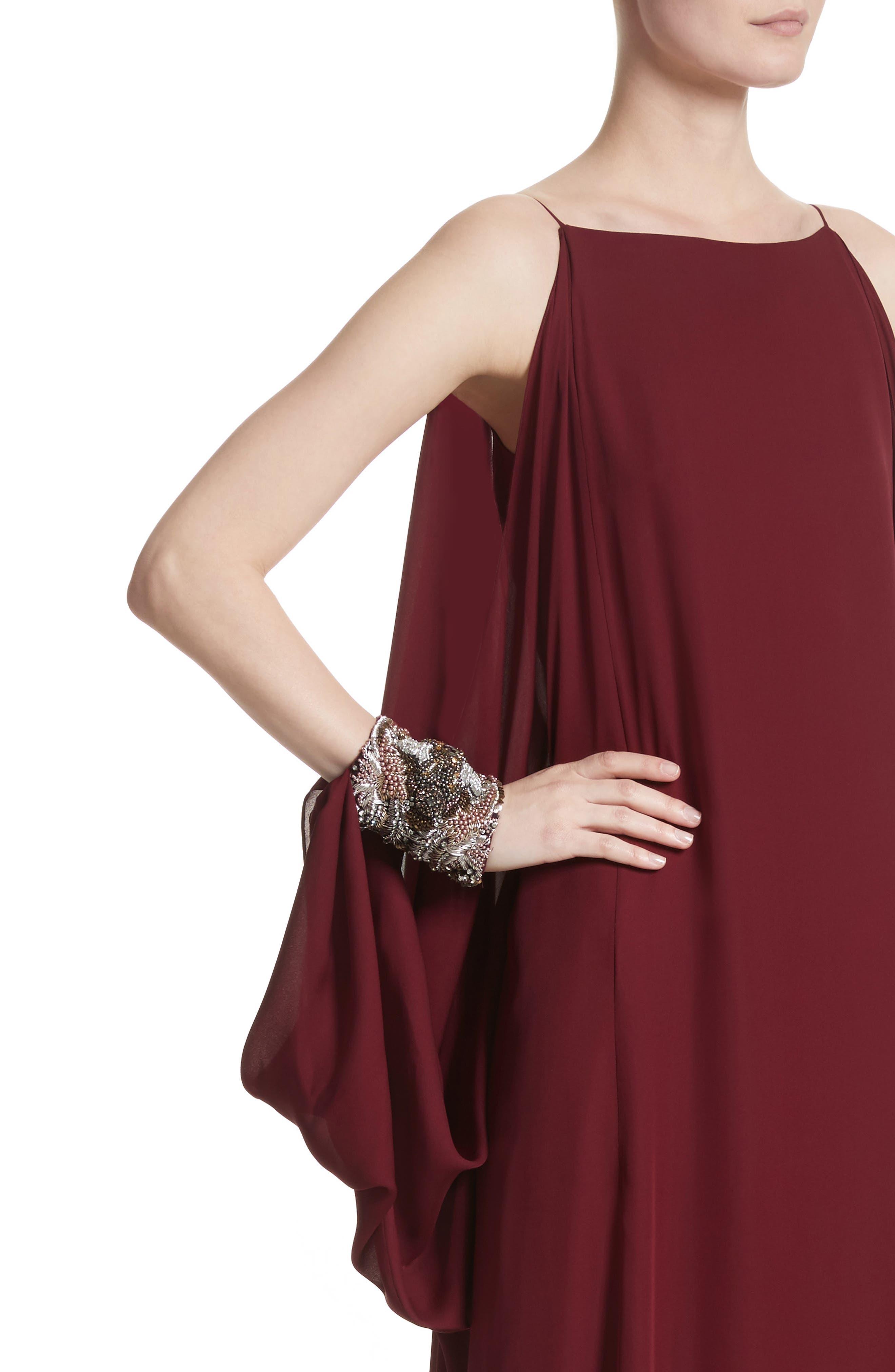 Badgley Mischka Couture Embellished Cuff Silk Caftan,                             Alternate thumbnail 4, color,                             Burgundy