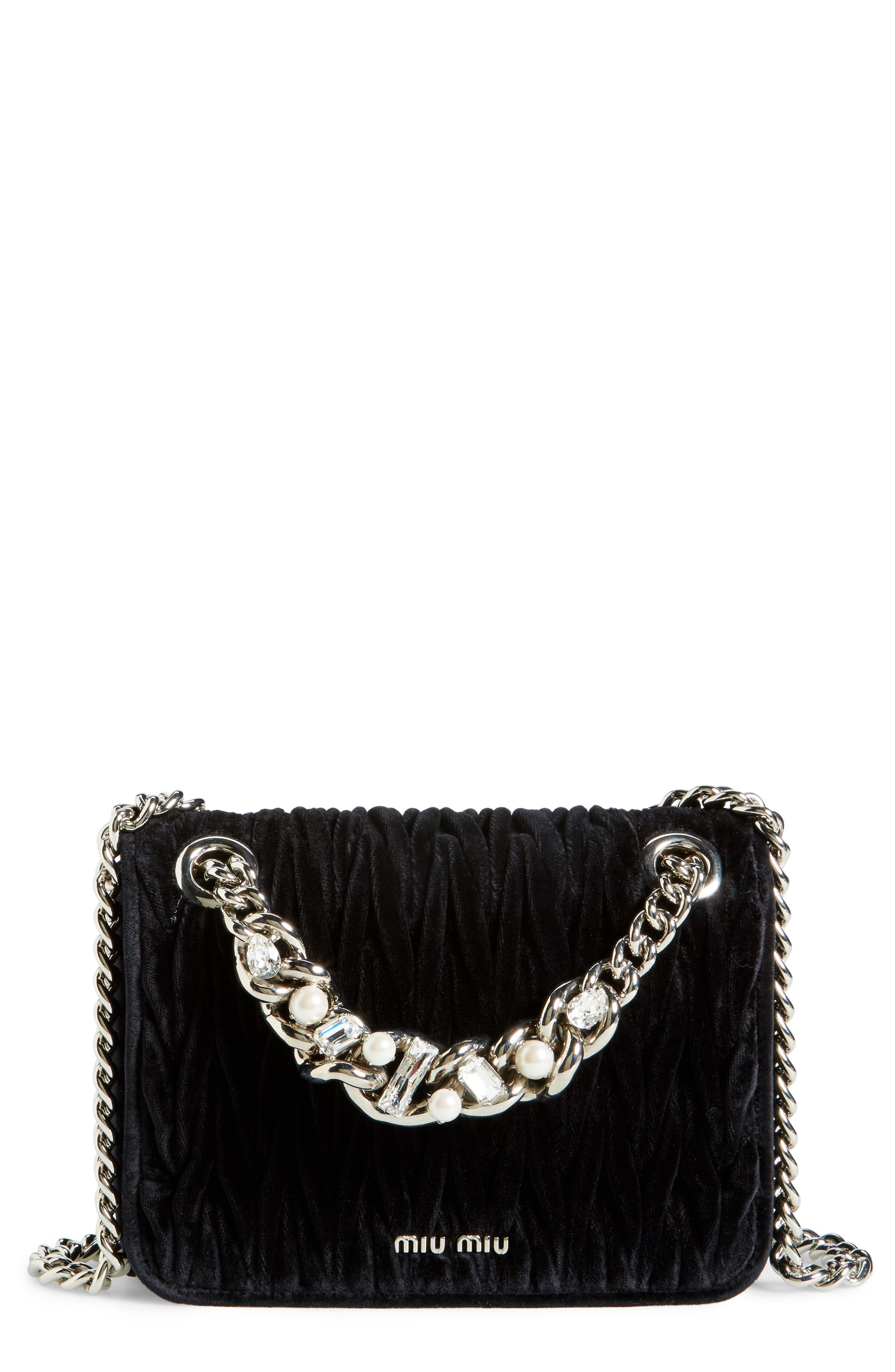 MIU MIU Small Club Velvet Matelassé Shoulder Bag