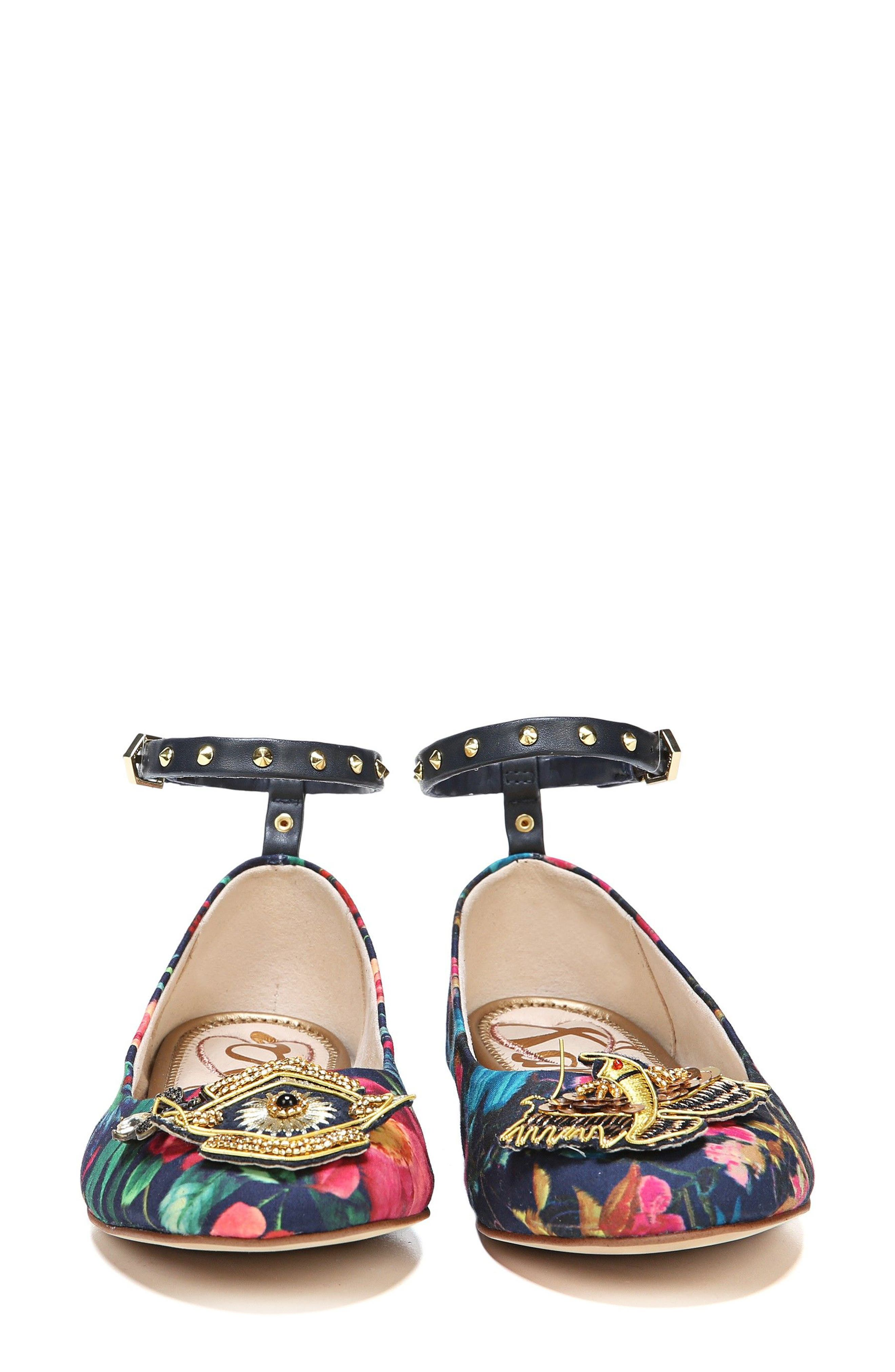Ferrera Embellished Ankle Strap Flat,                             Alternate thumbnail 5, color,                             Navy Floral Fabric