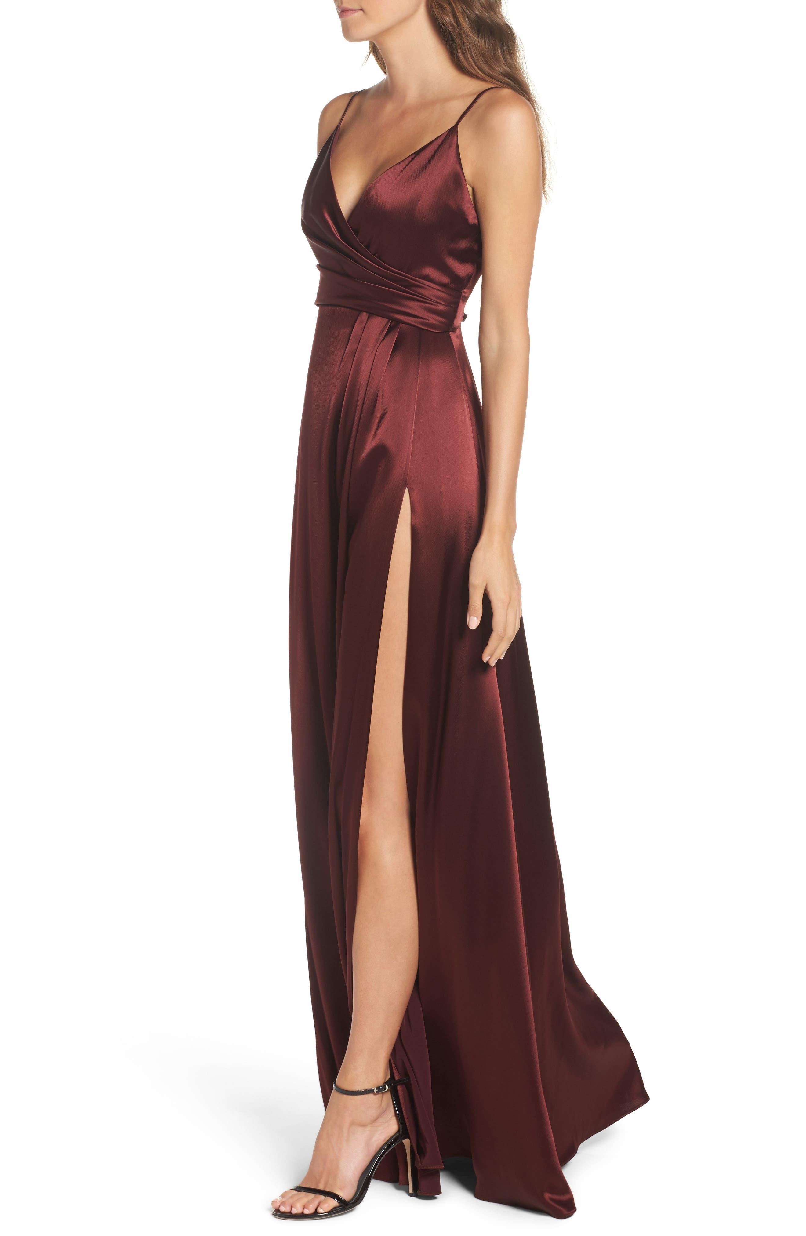 Alternate Image 4  - Jill Jill Stuart Faux Wrap Satin Gown