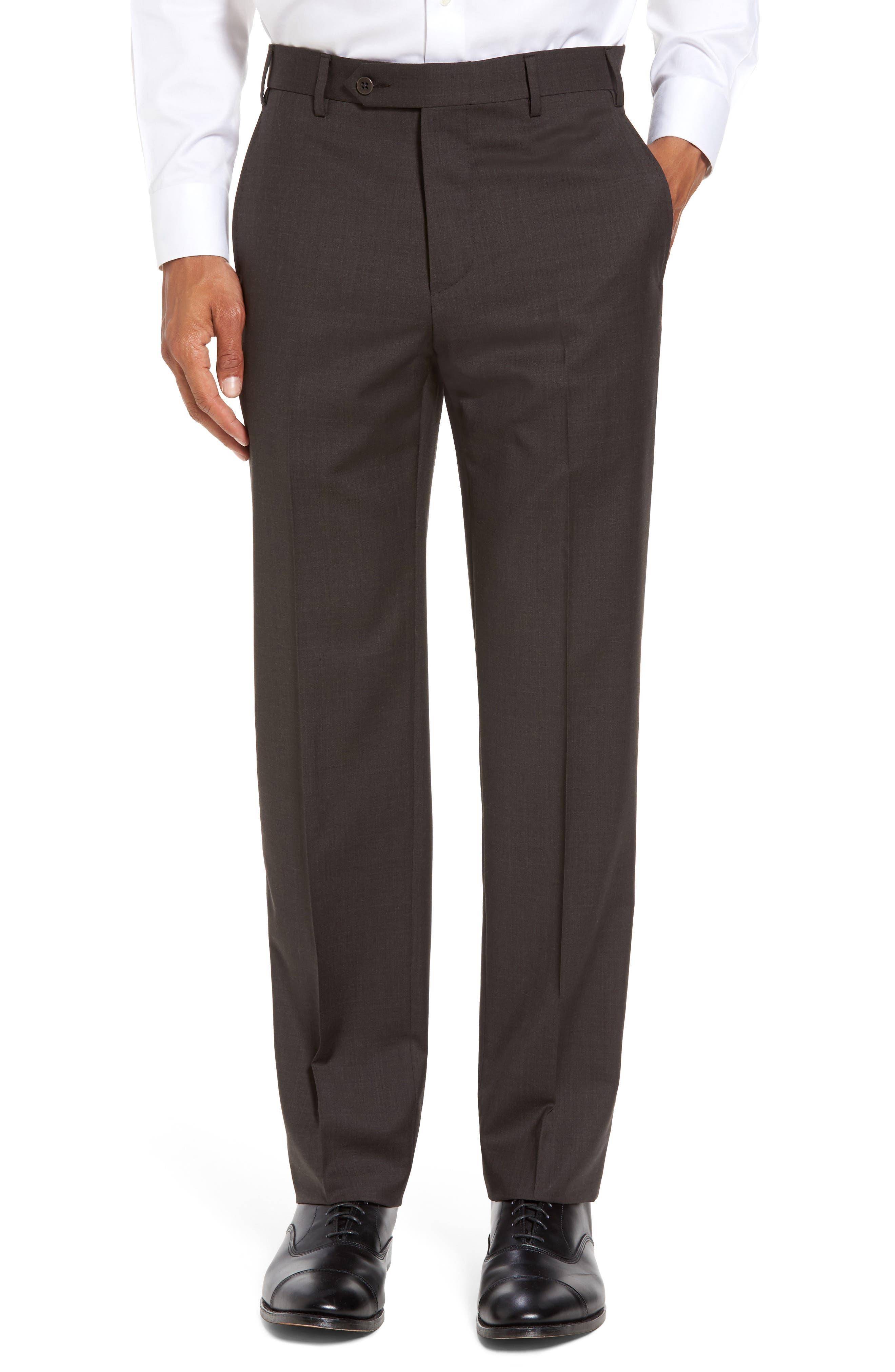 Zanella Devon Flat Front Solid Wool Trousers