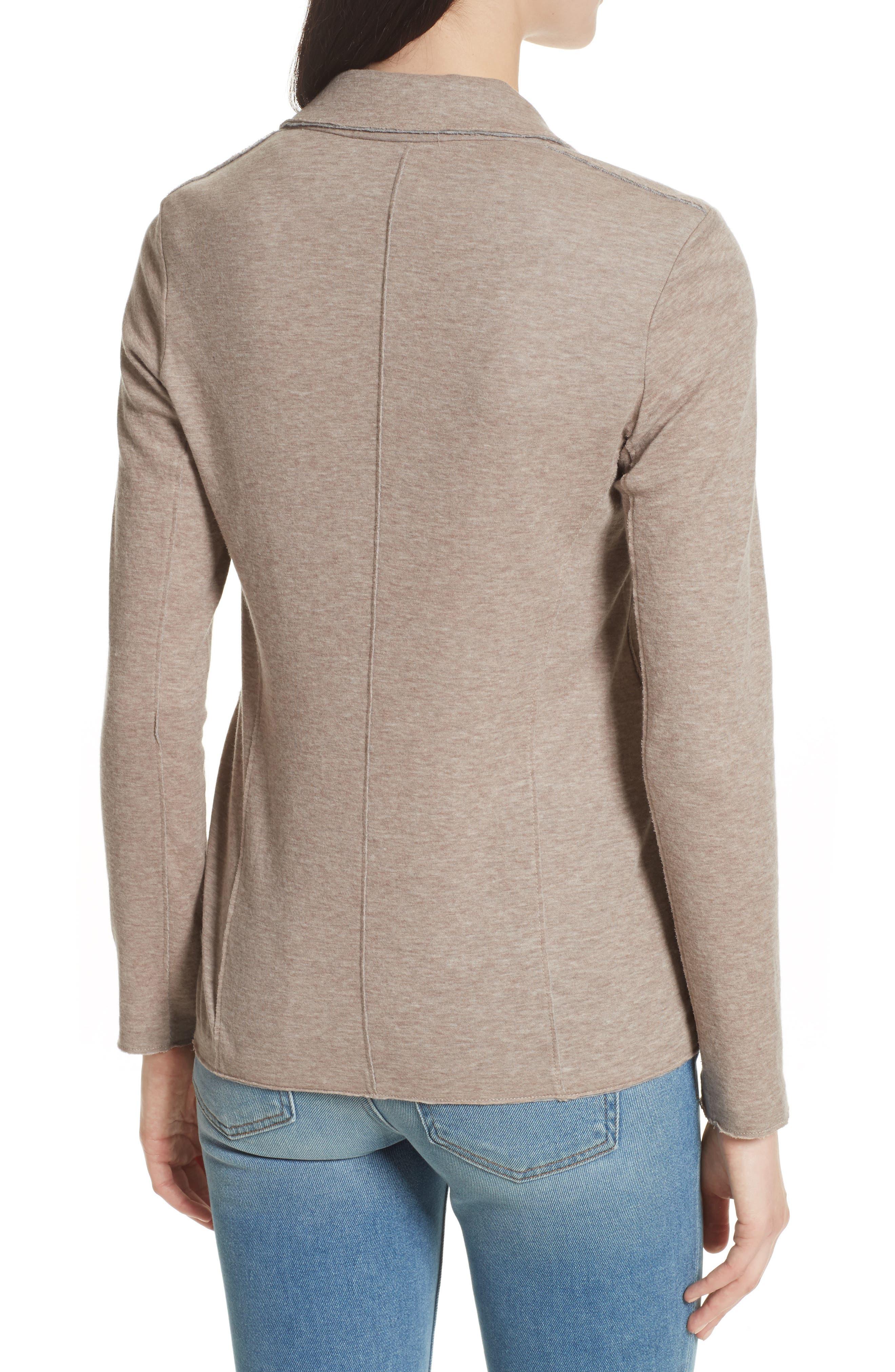 One-Button Cotton & Cashmere Blazer,                             Alternate thumbnail 2, color,                             Beige/ Grey