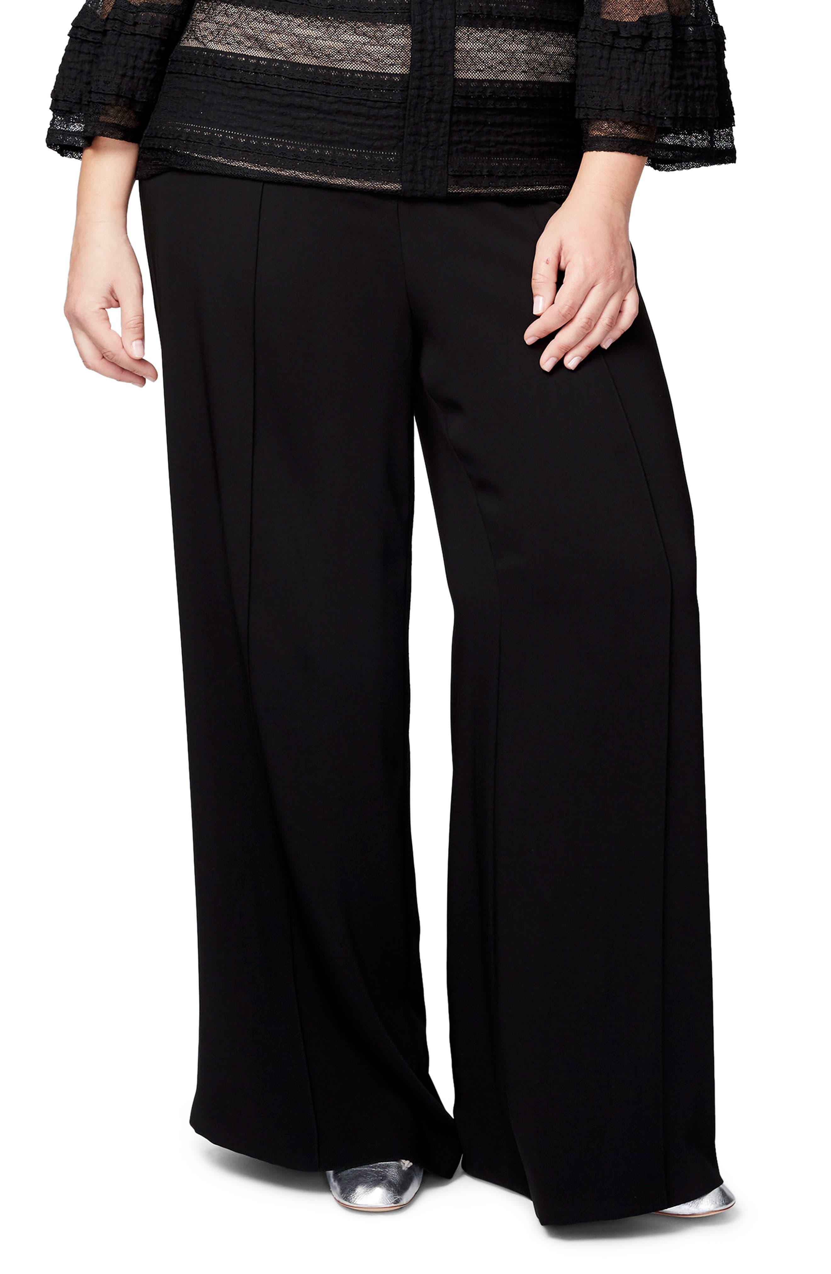 Denise Wide Leg Pants,                         Main,                         color, Black