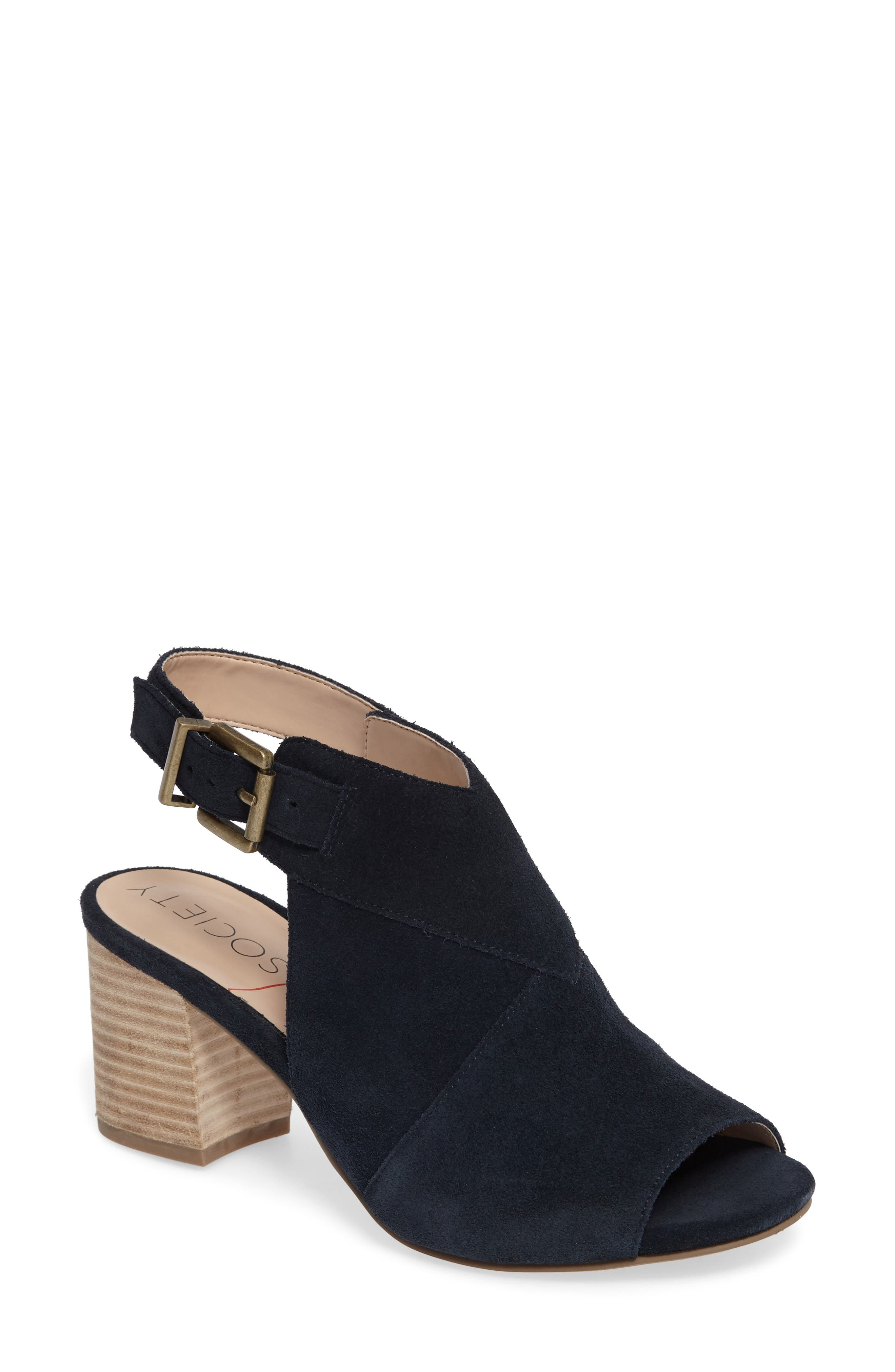 Zuma Peep Toe Bootie,                             Main thumbnail 1, color,                             Ink Navy Suede