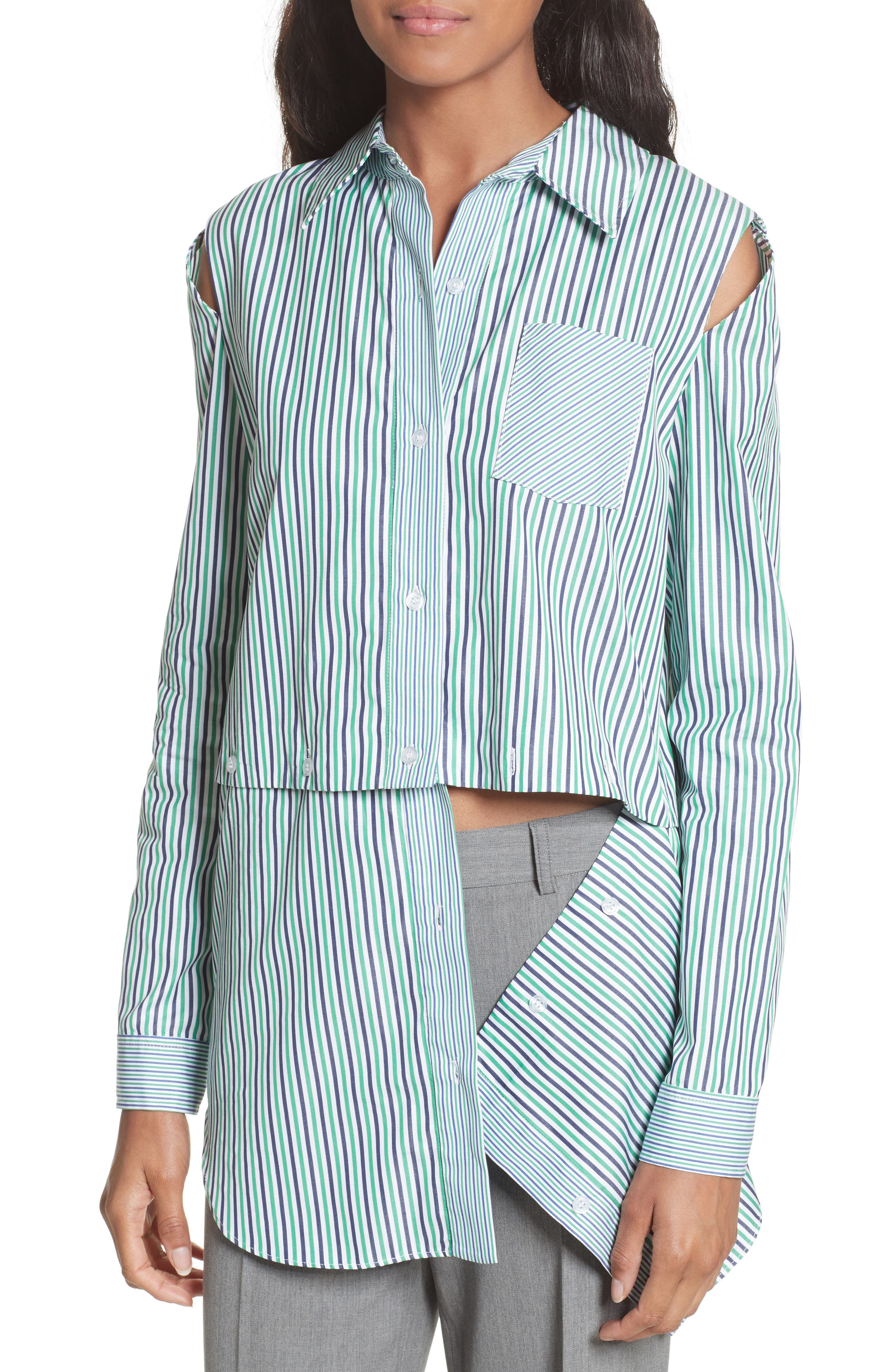 Fractured Stripe Shirt,                             Alternate thumbnail 5, color,                             Emerald