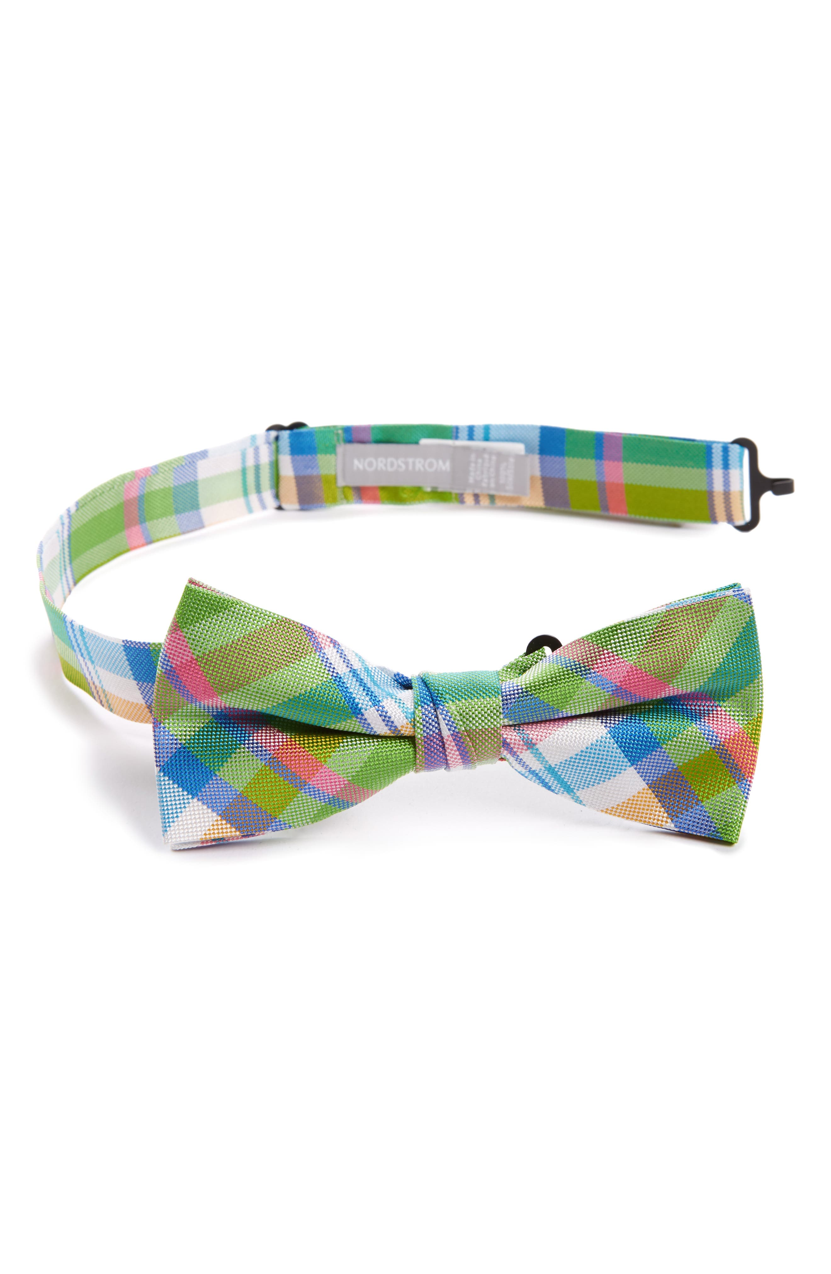 Plaid Silk Bow Tie,                             Main thumbnail 1, color,                             Green