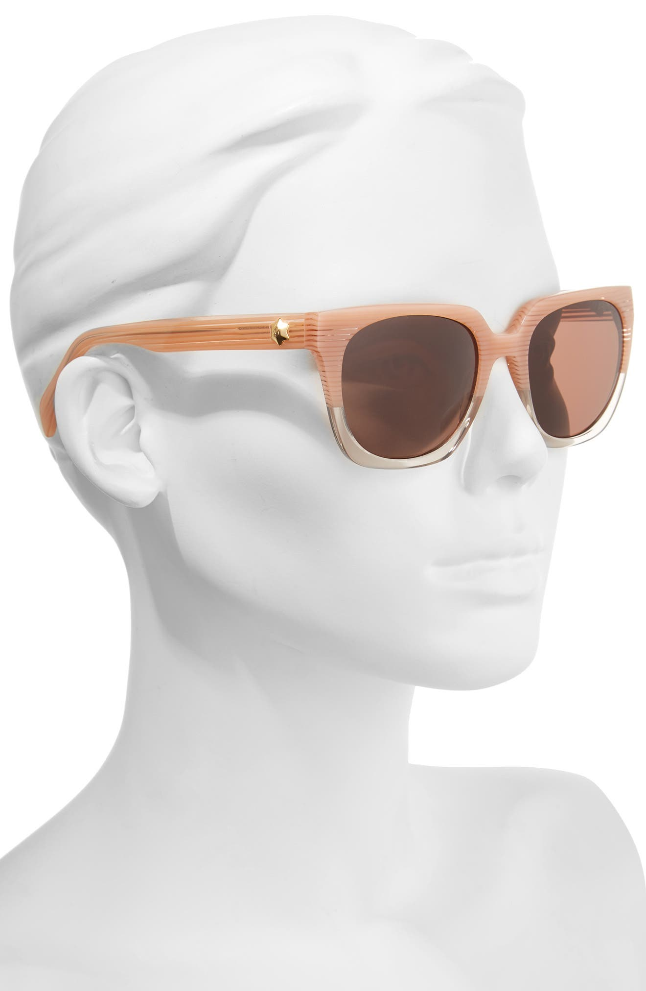 54mm Square Sunglasses,                             Alternate thumbnail 2, color,                             Pink