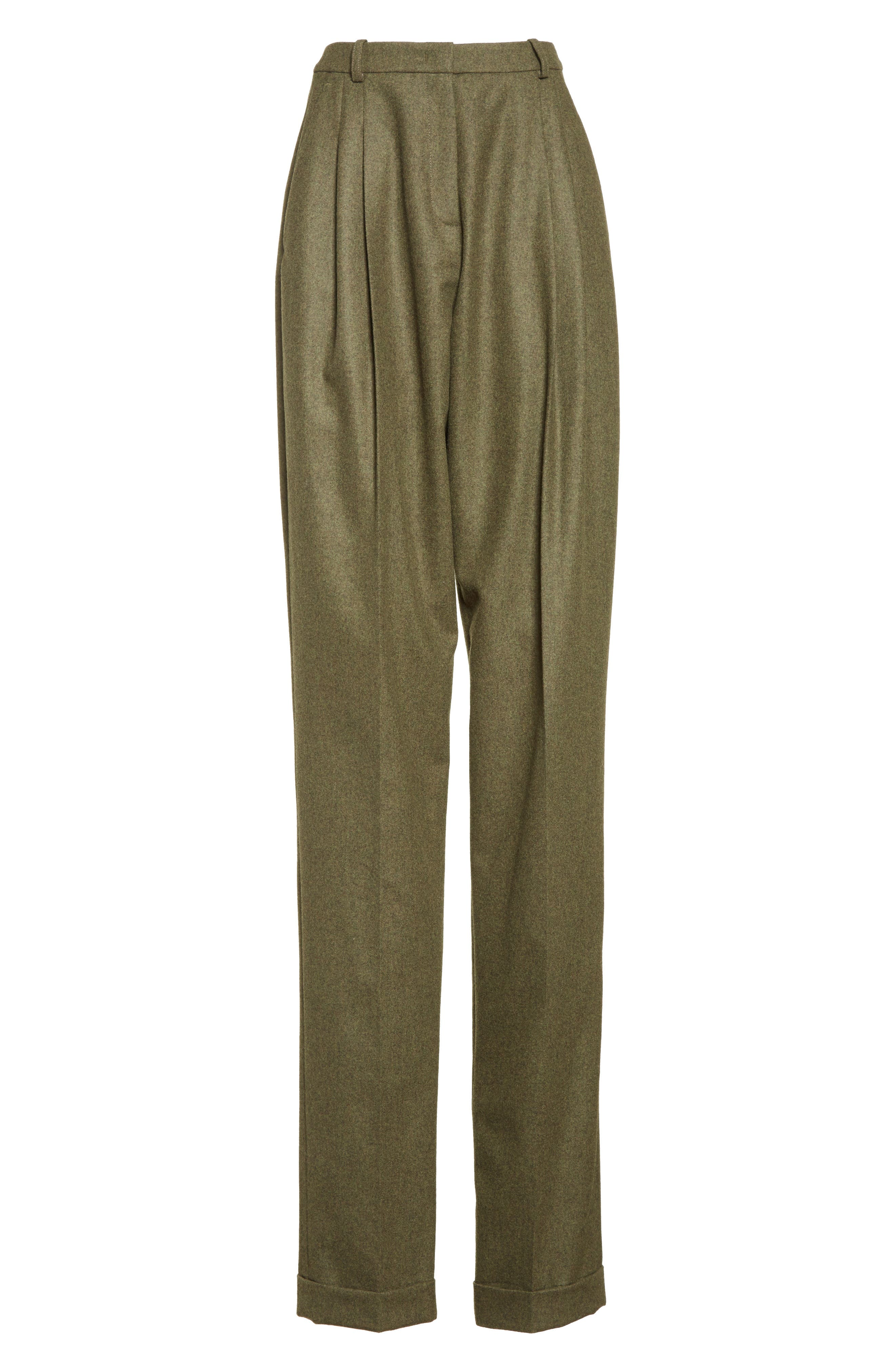 Wool & Cashmere Pleated Flannel Trousers,                             Alternate thumbnail 6, color,                             Olive Mlange