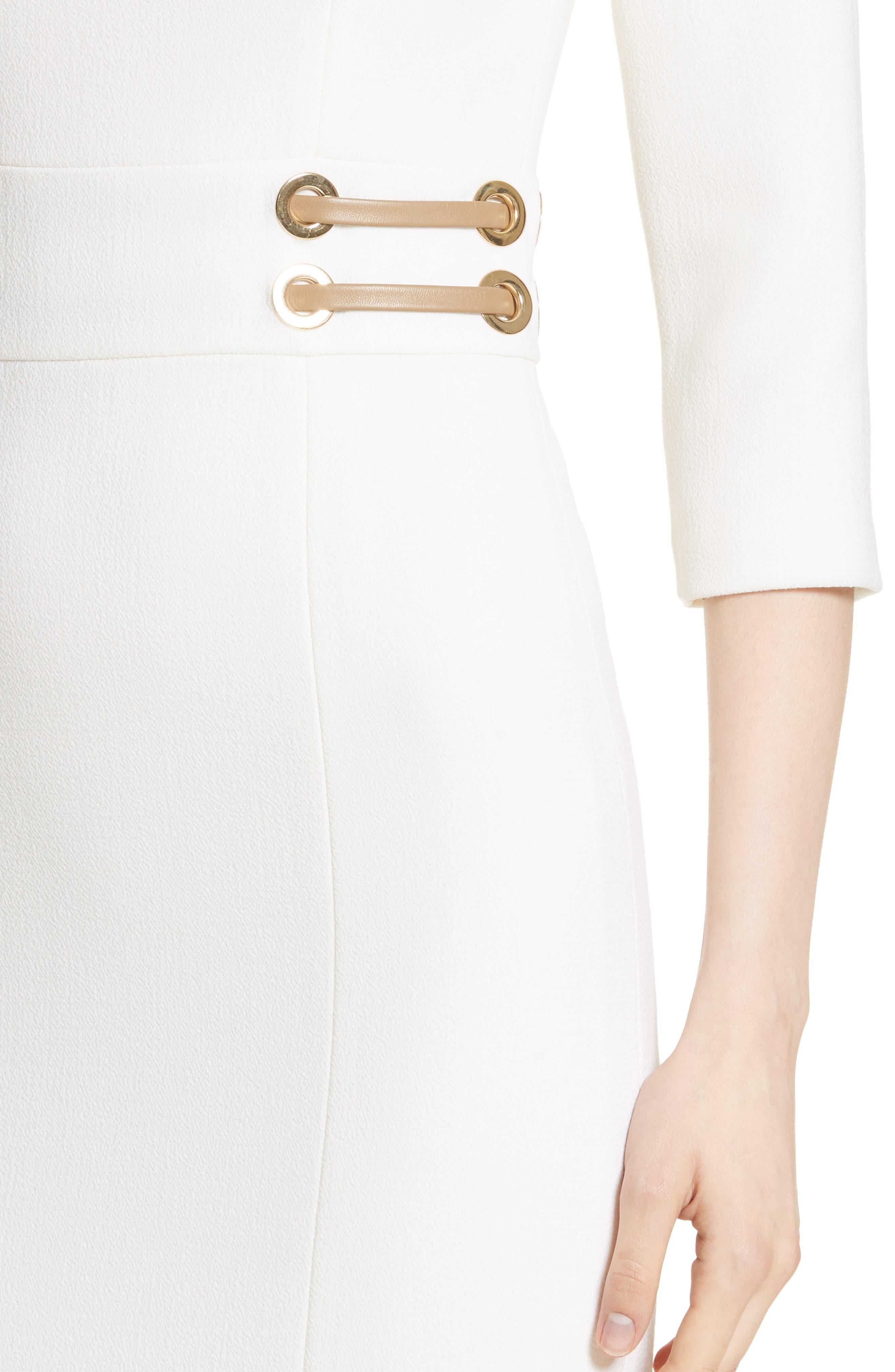 Alternate Image 4  - Michael Kors Leather Trim Stretch Bouclé Crepe Sheath Dress