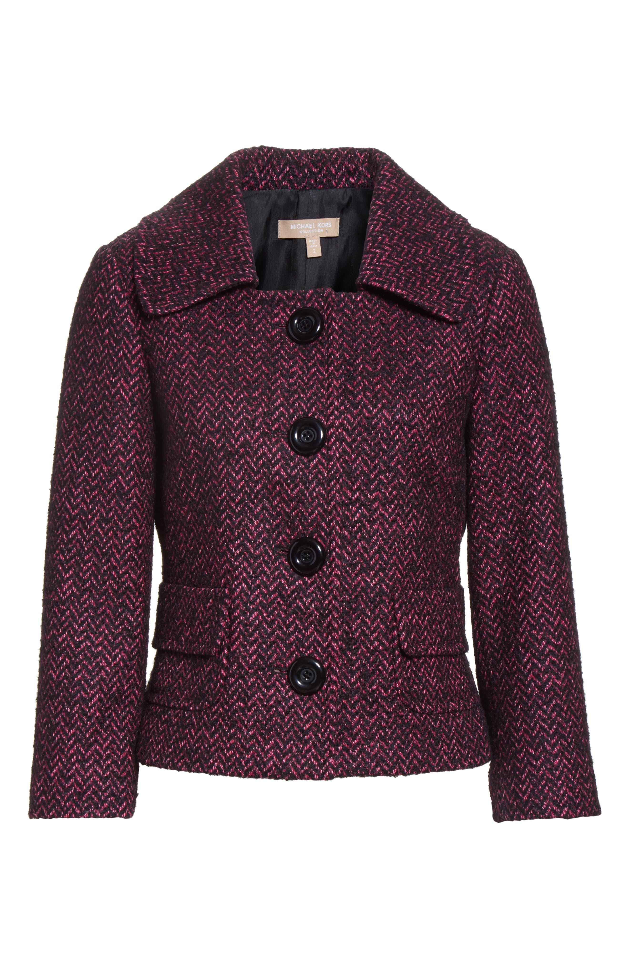 Herringbone Wool Blend Jacket,                             Alternate thumbnail 6, color,                             Magnolia/ Black