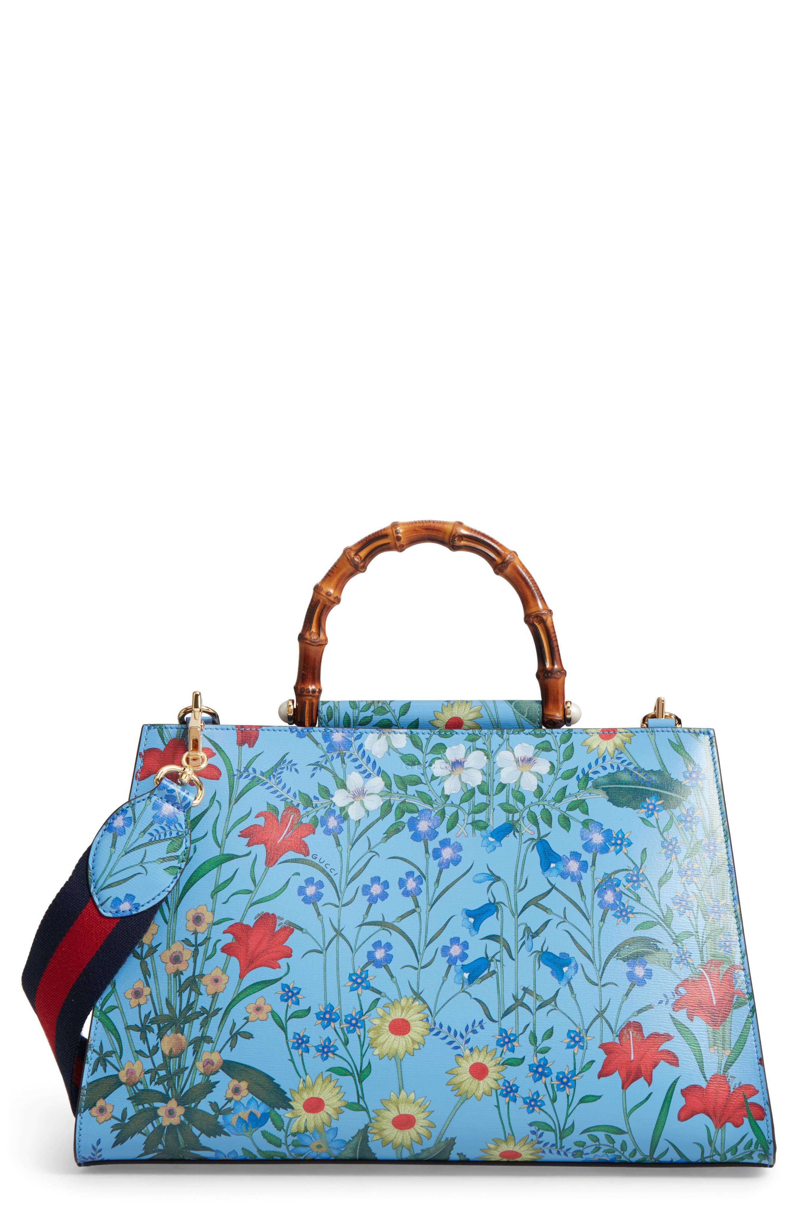 Gucci Large Nymphaea New Flora Print Leather Top Handle Tote