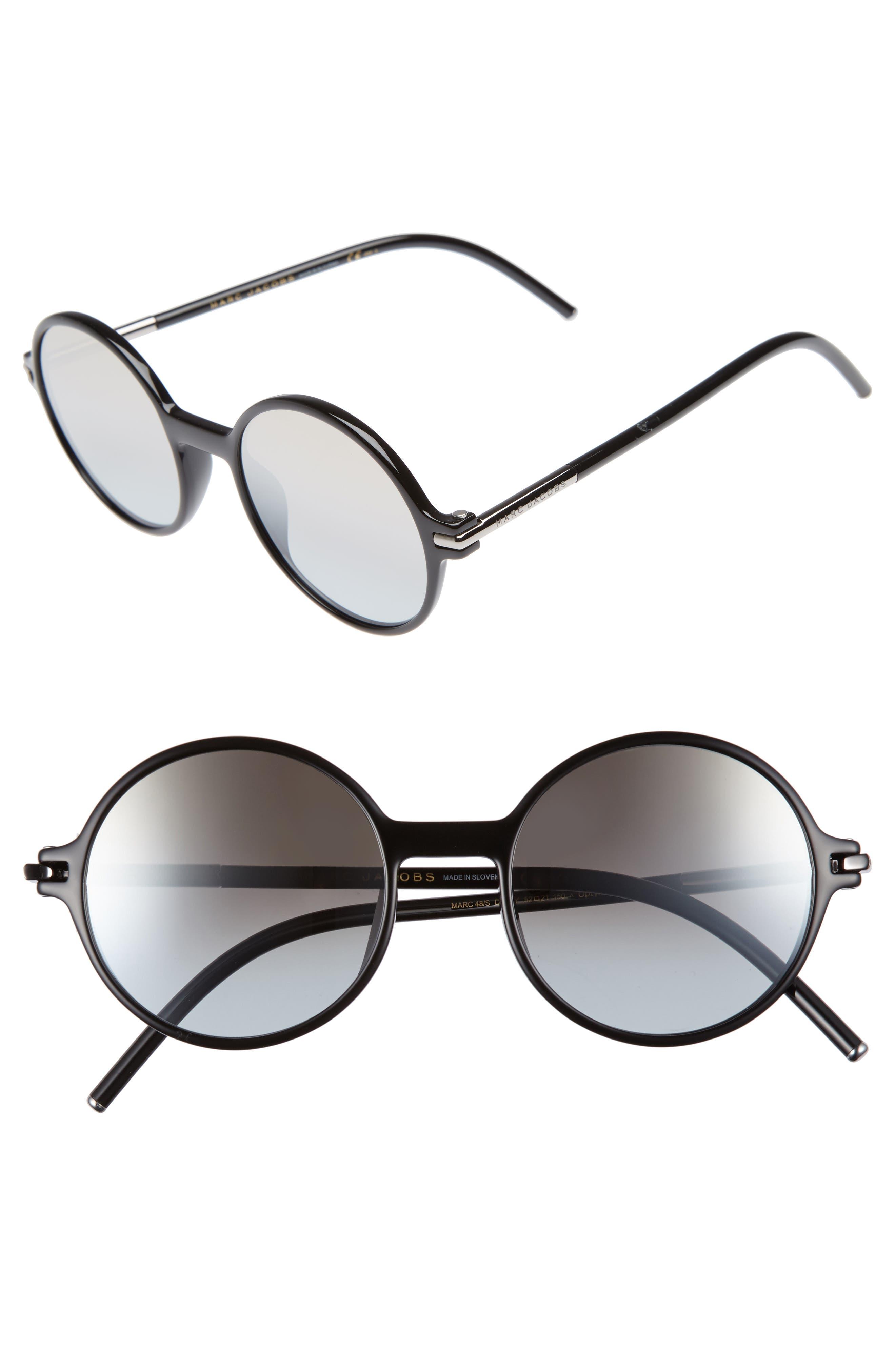 52mm Round Sunglasses,                         Main,                         color, Black/ Brown/ Gold Mirror