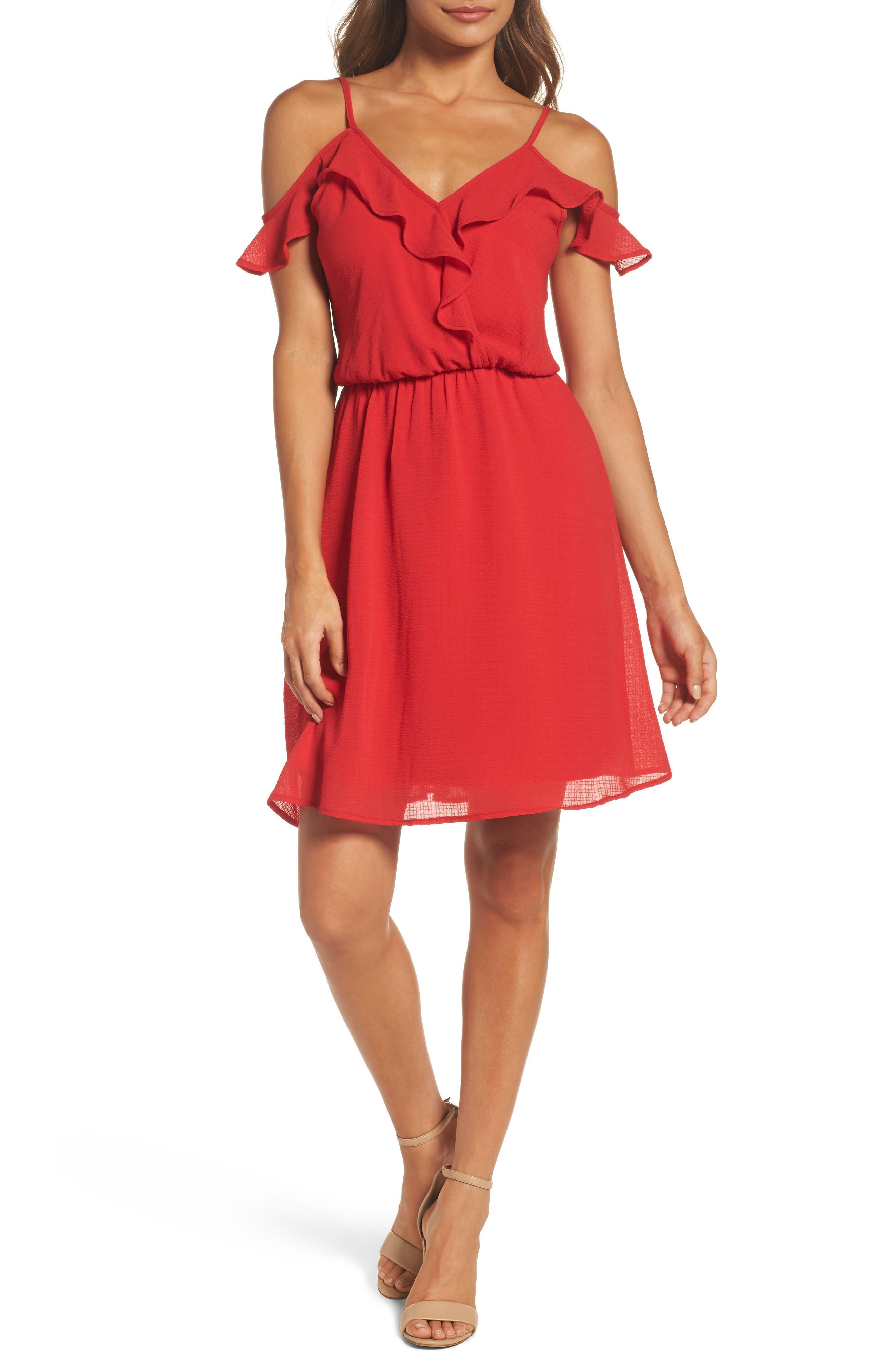 Ruffle Cold Shoulder Dress,                             Main thumbnail 1, color,                             Tomato
