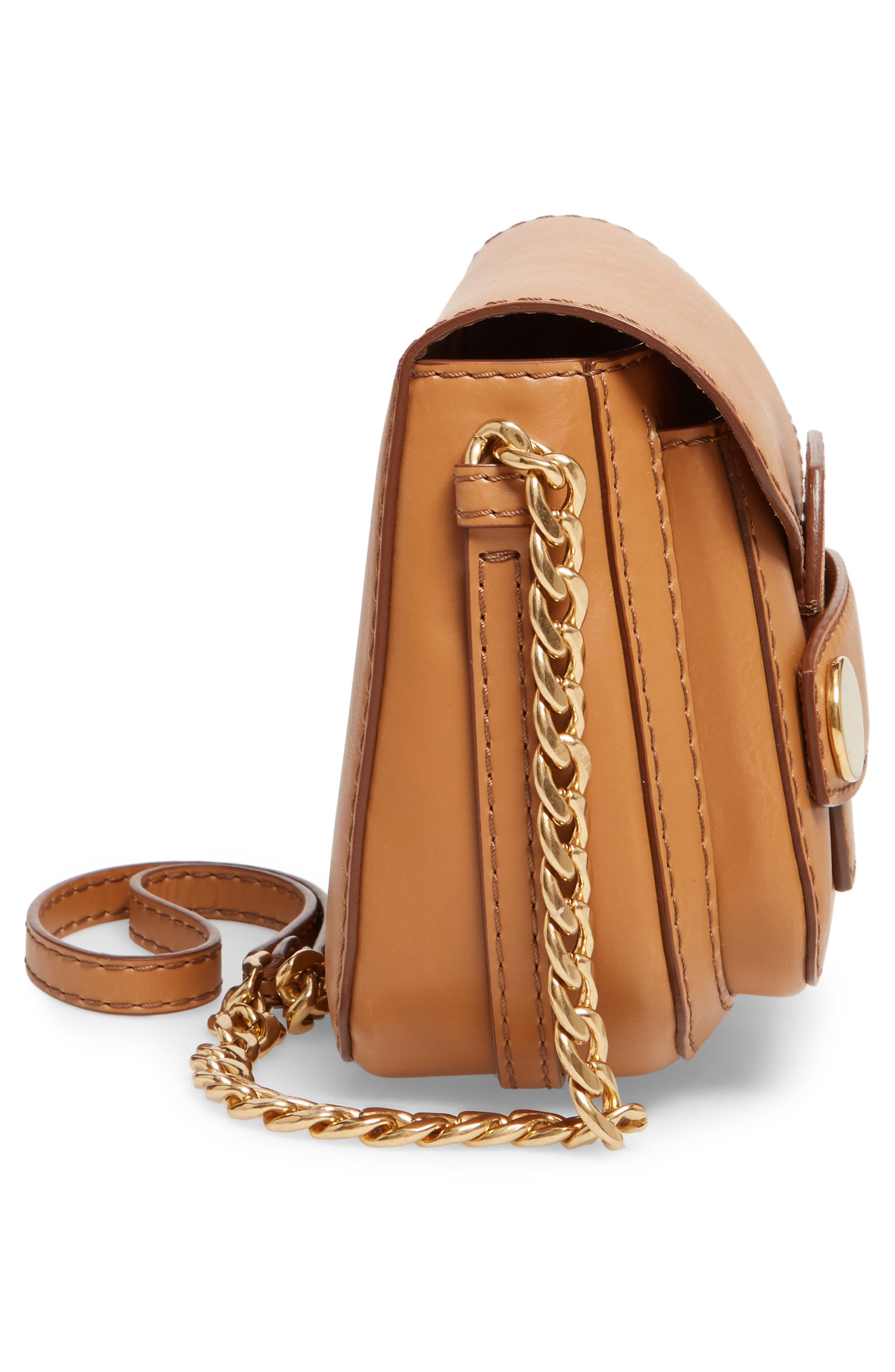 Textured Faux Leather Crossbody Bag,                             Alternate thumbnail 5, color,                             Camel
