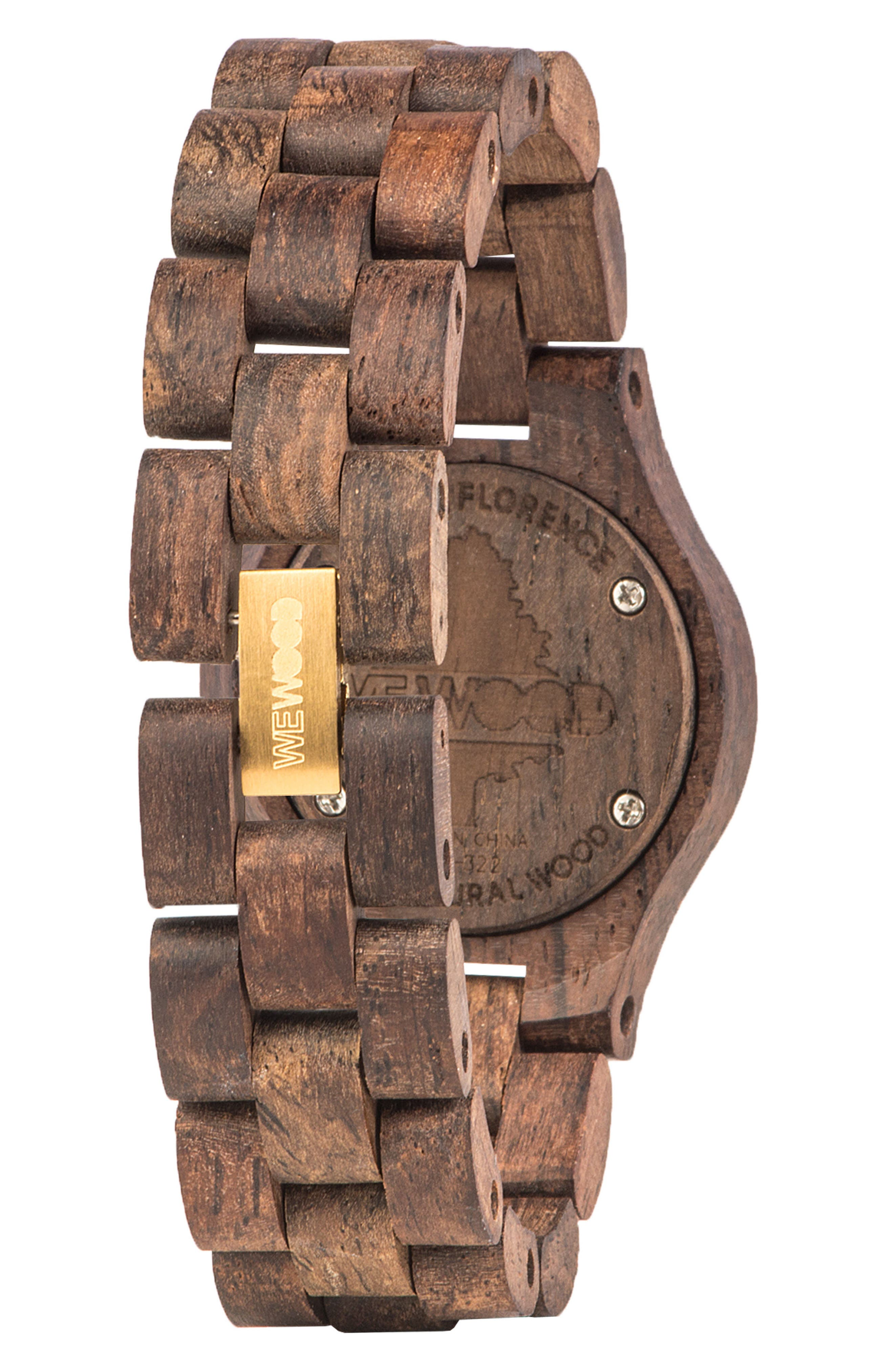 Criss Wood Bracelet Watch, 31mm,                             Alternate thumbnail 2, color,                             Brown/ Gold