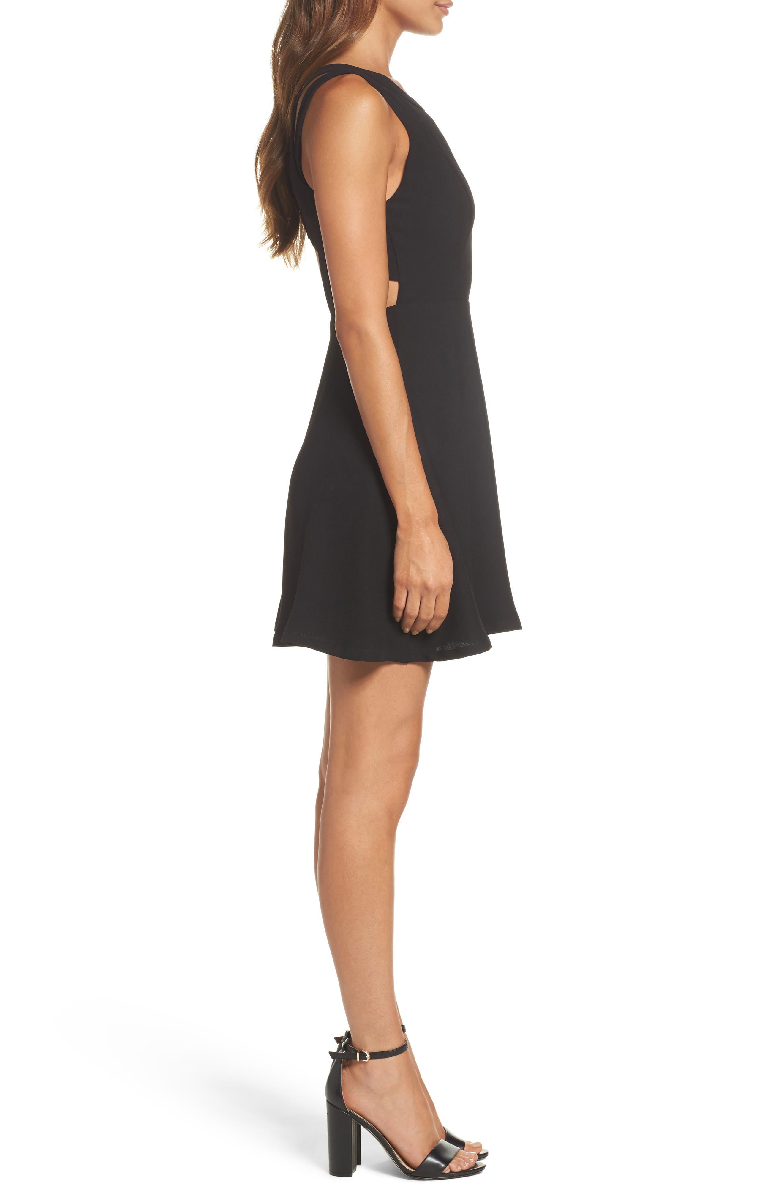 Crepe Fit & Flare Dress,                             Alternate thumbnail 3, color,                             Black