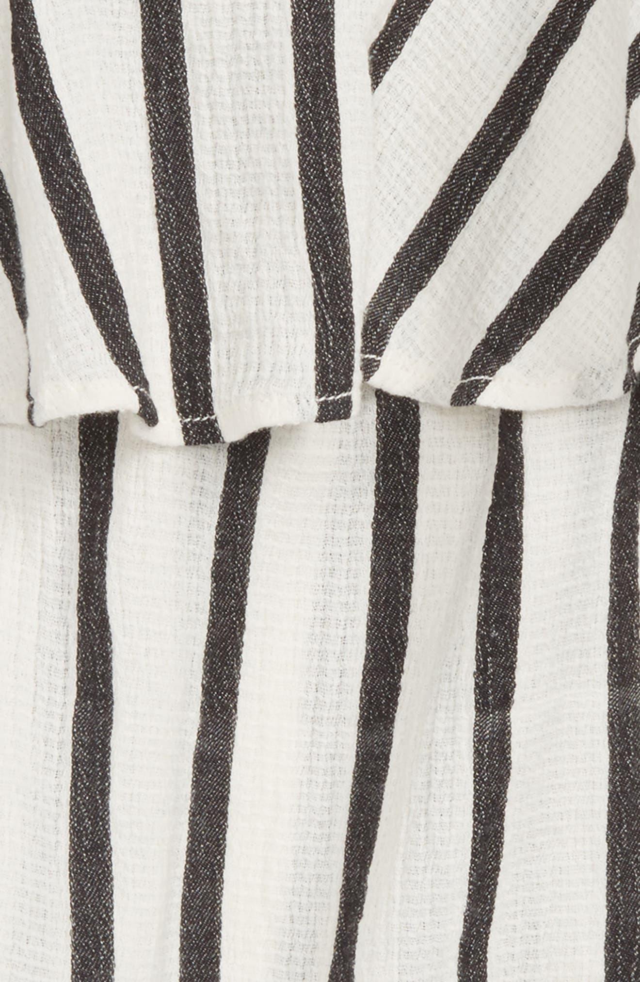 Textured Ruffle Tank,                             Alternate thumbnail 2, color,                             Ivory Egret- Black Stripe