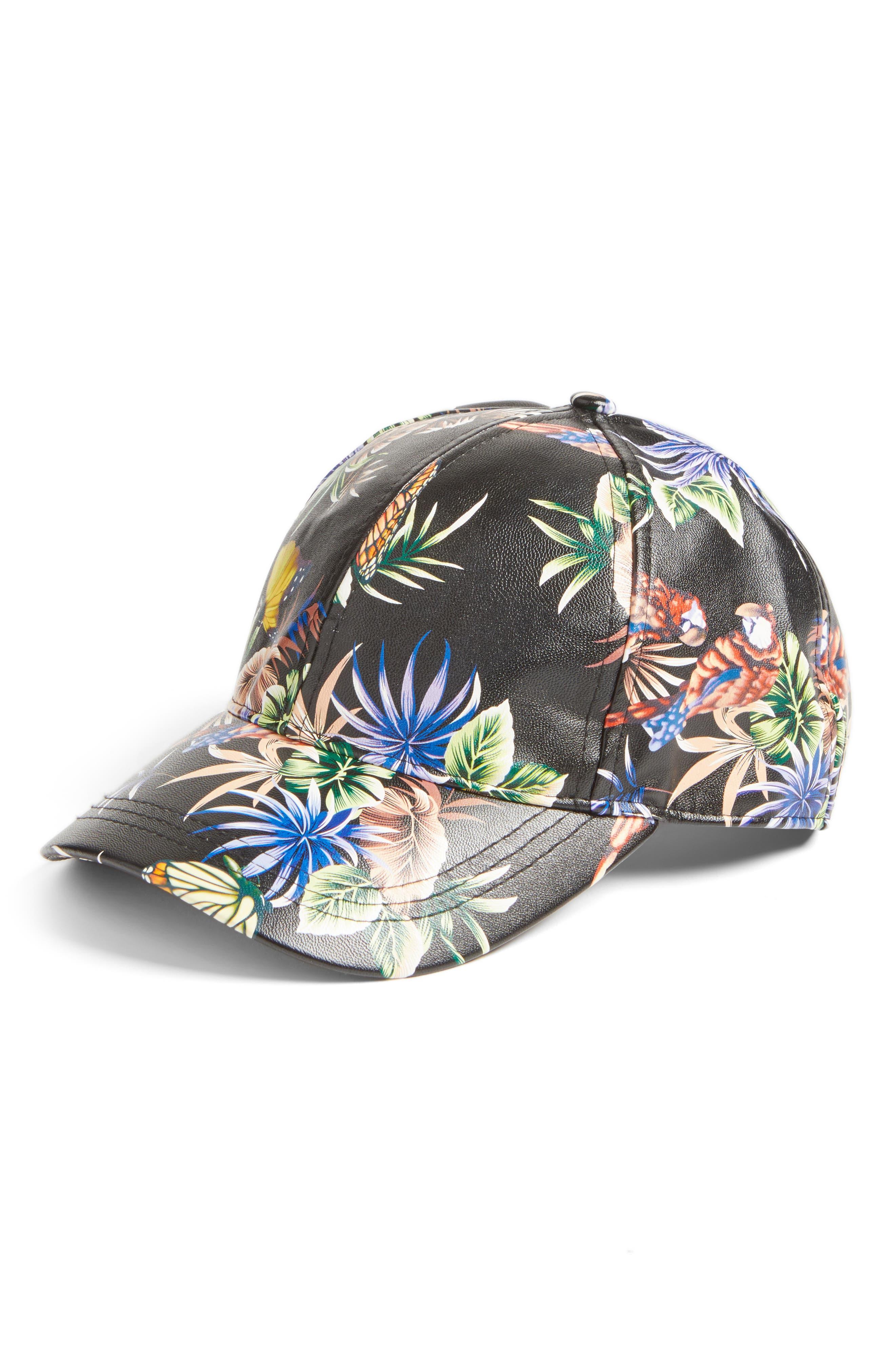 Floral Faux Leather Baseball Cap,                         Main,                         color, Black