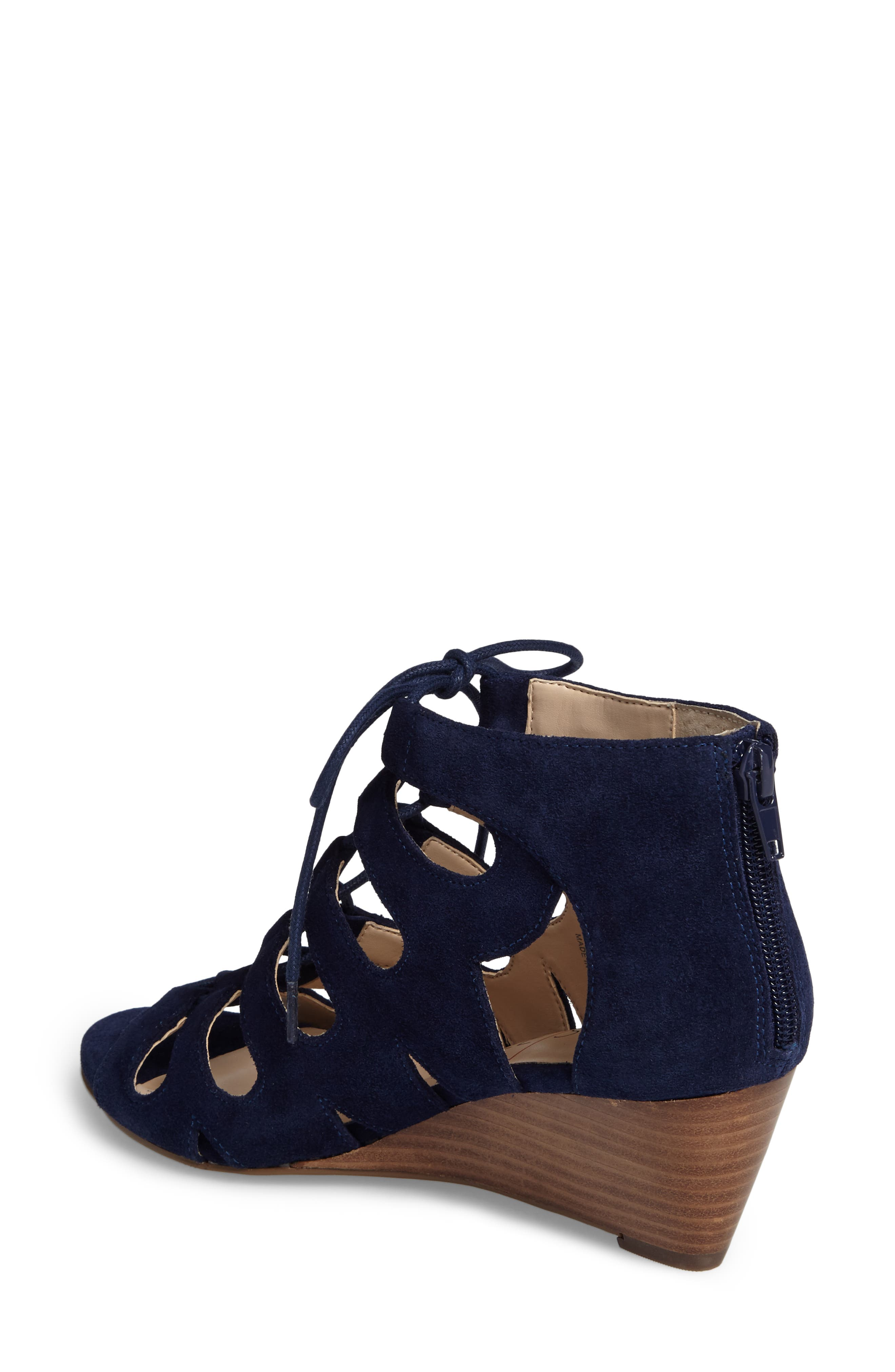 'Freyaa' Wedge Sandal,                             Alternate thumbnail 2, color,                             Navy Suede
