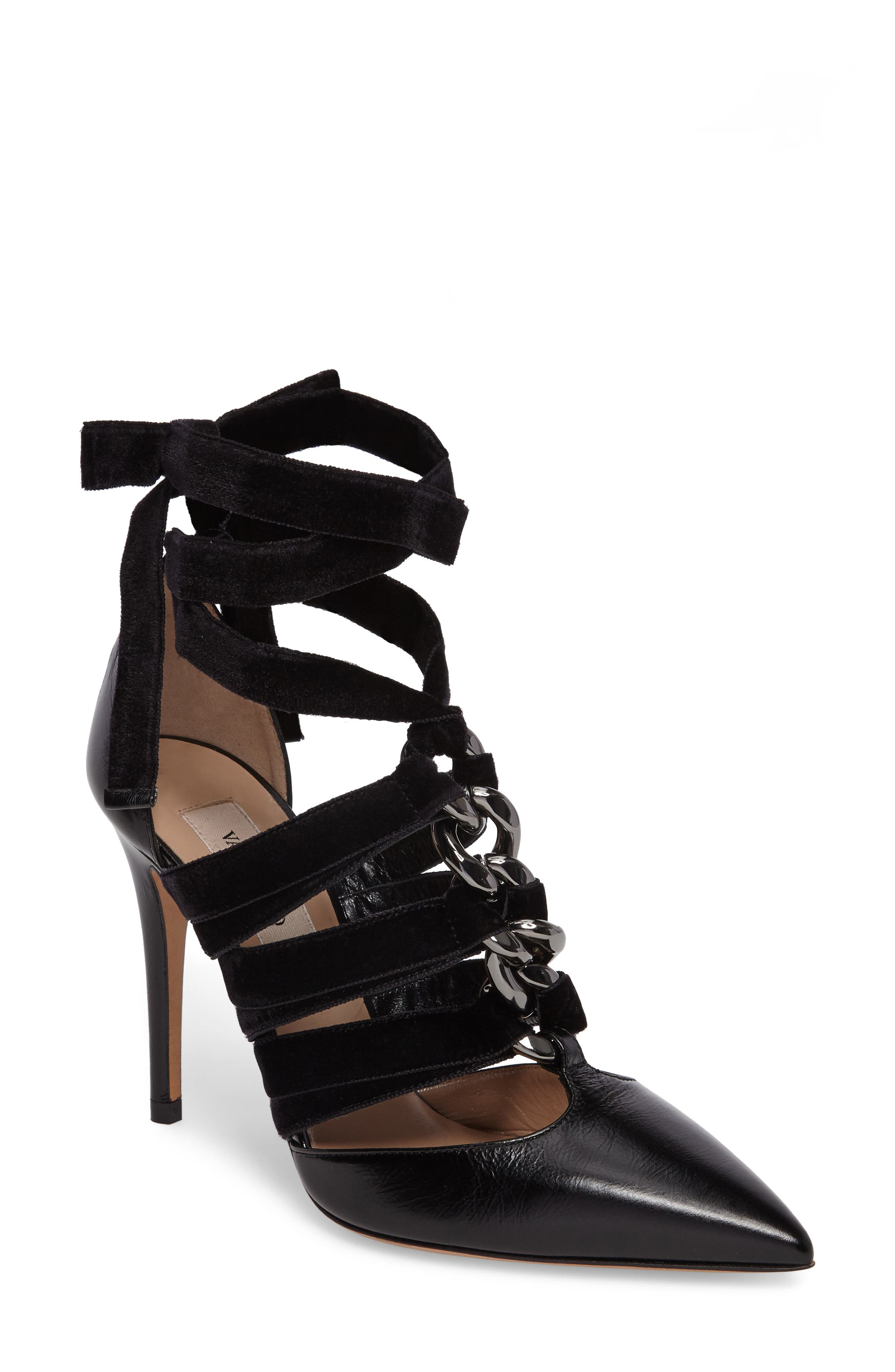 Velvet Rope Pointy-Toe Pump,                             Main thumbnail 1, color,                             Black Leather