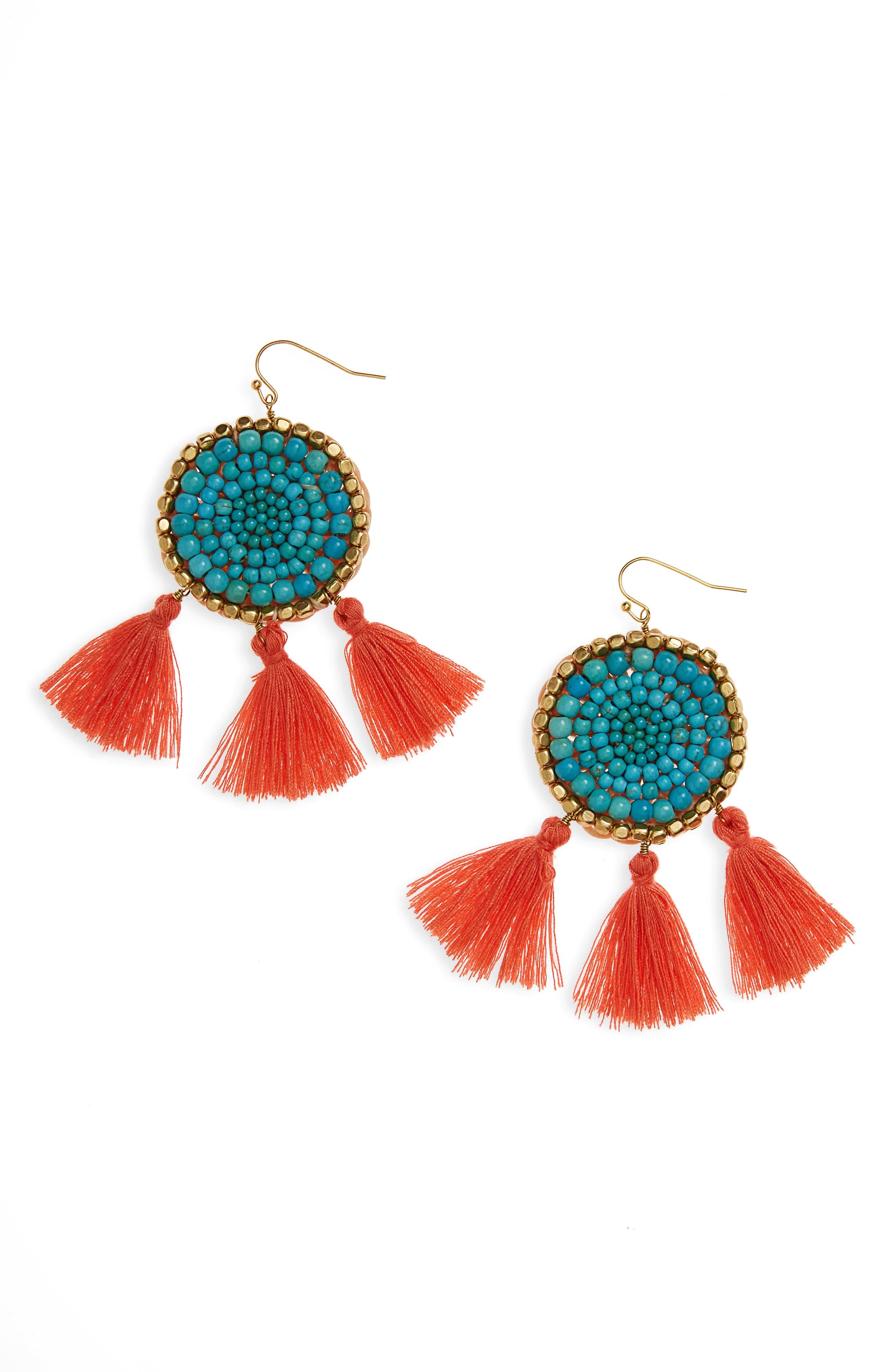Panacea Howlite Medallion Tassel Earrings