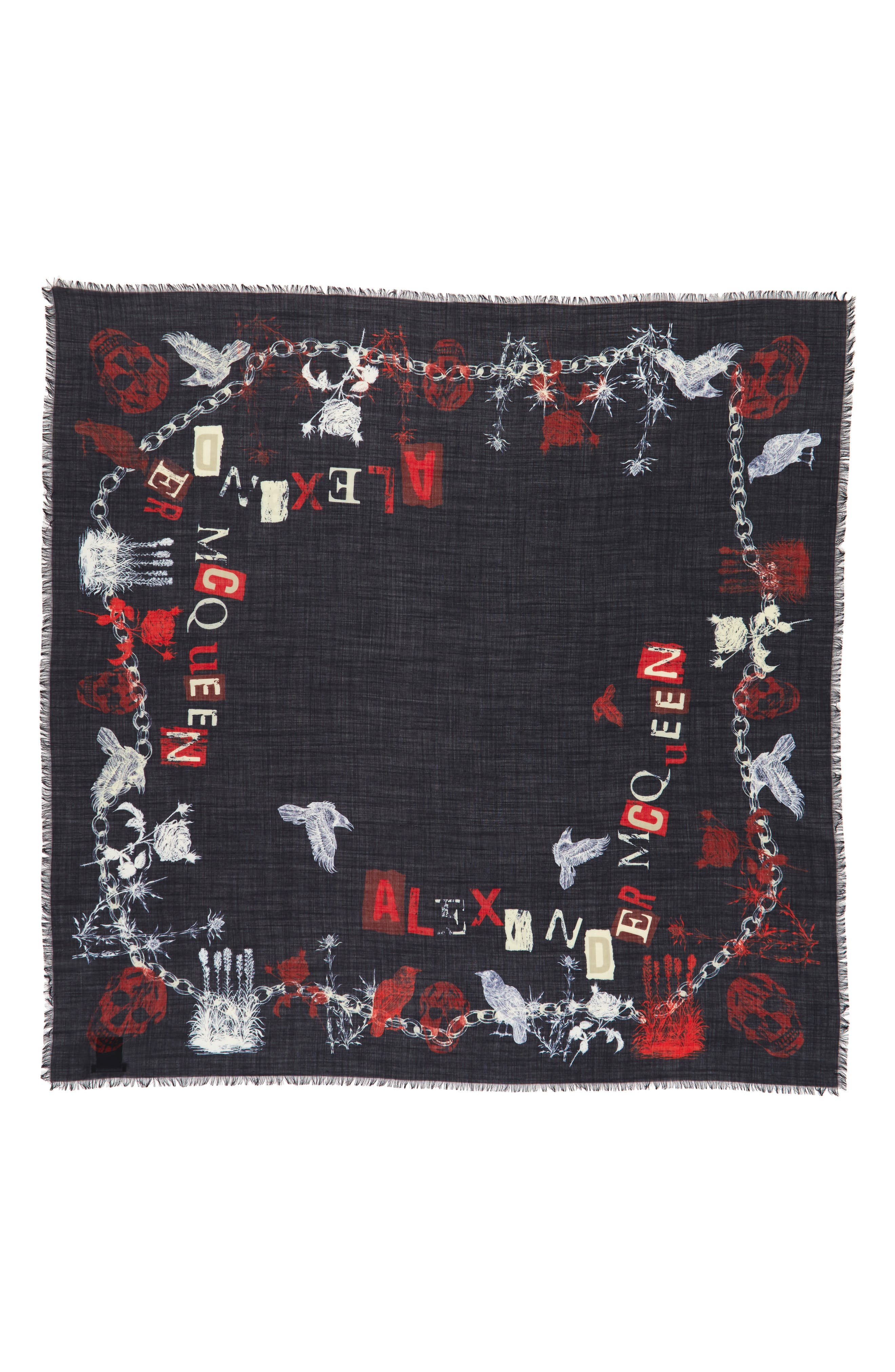 Ramson Wool & Silk Scarf,                             Alternate thumbnail 2, color,                             Midnight Blue/ Red