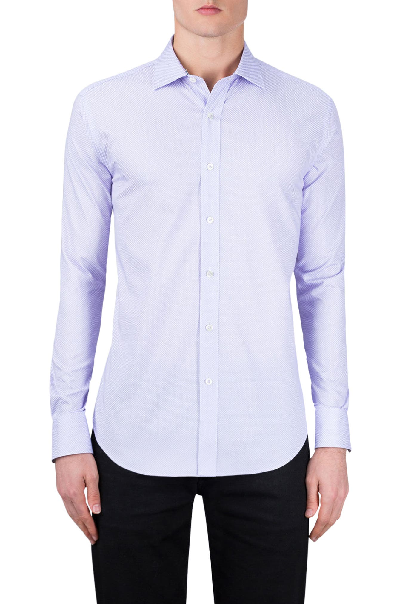 Alternate Image 1 Selected - Bugatchi Classic Fit Diamond Print Sport Shirt