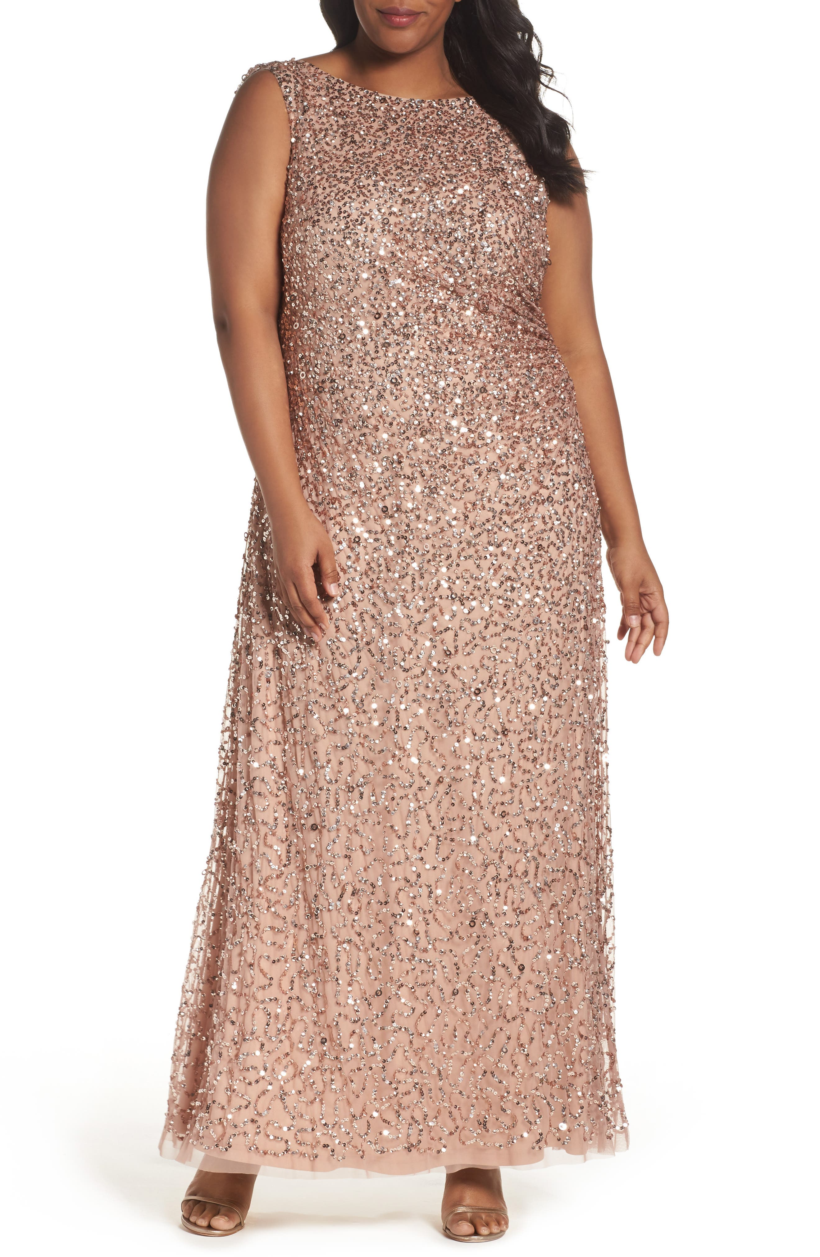Sequin Cowl Back Gown,                             Main thumbnail 1, color,                             Rose Gold