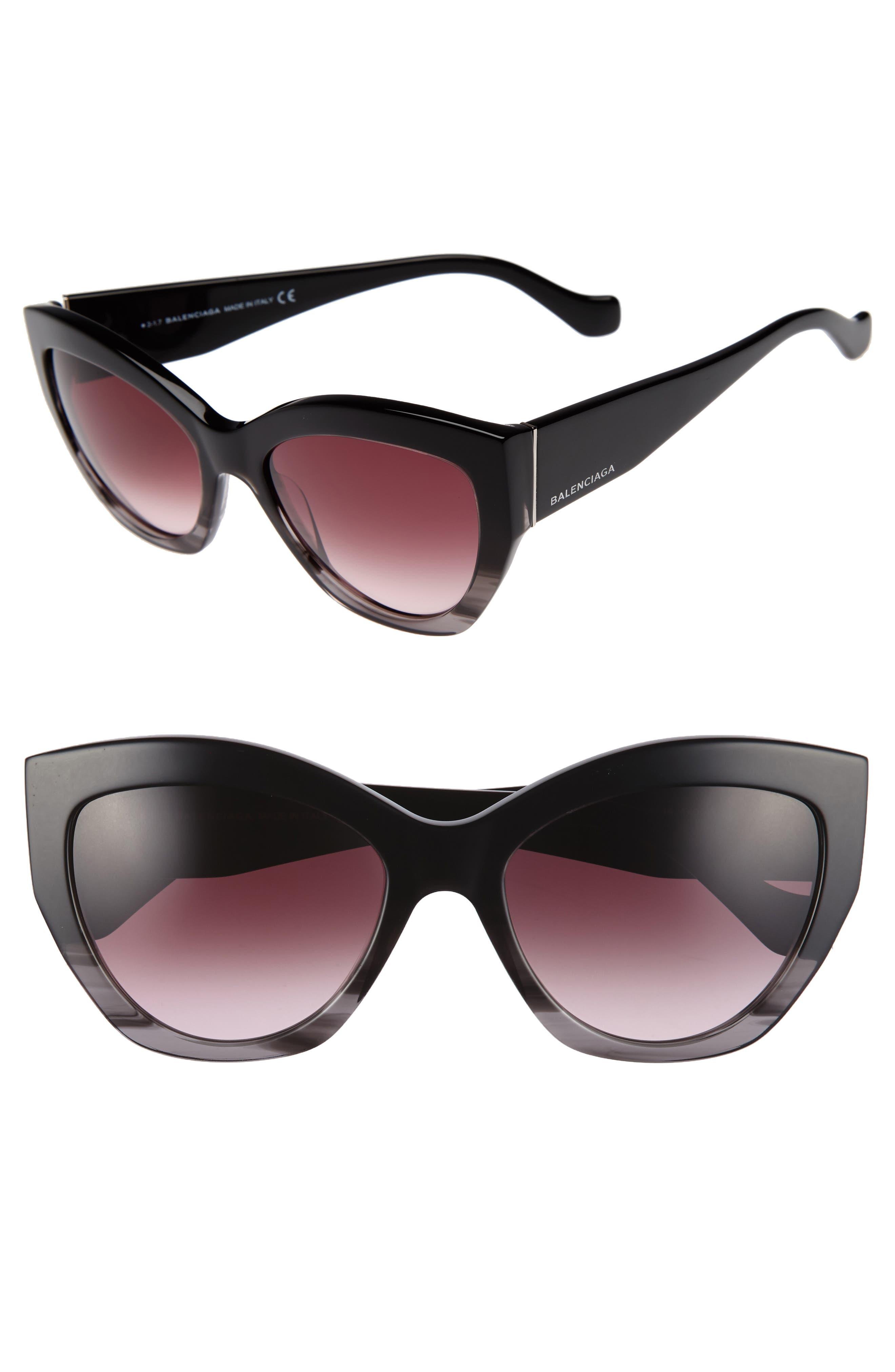 56mm Cat Eye Sunglasses,                             Main thumbnail 1, color,                             Striped Black/ Opal/ Ruthenium