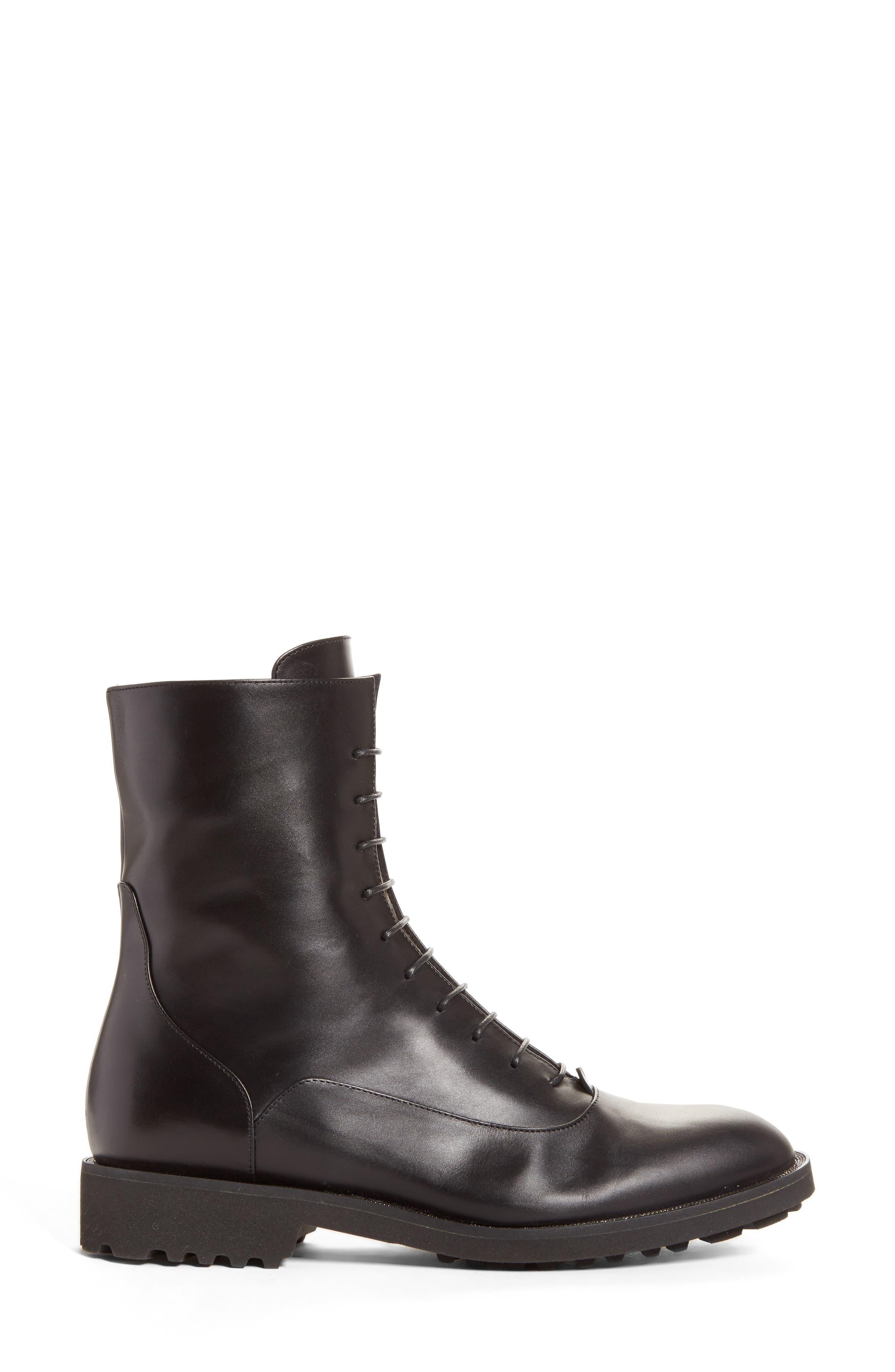 Ludovica Combat Boot,                             Alternate thumbnail 2, color,                             Black