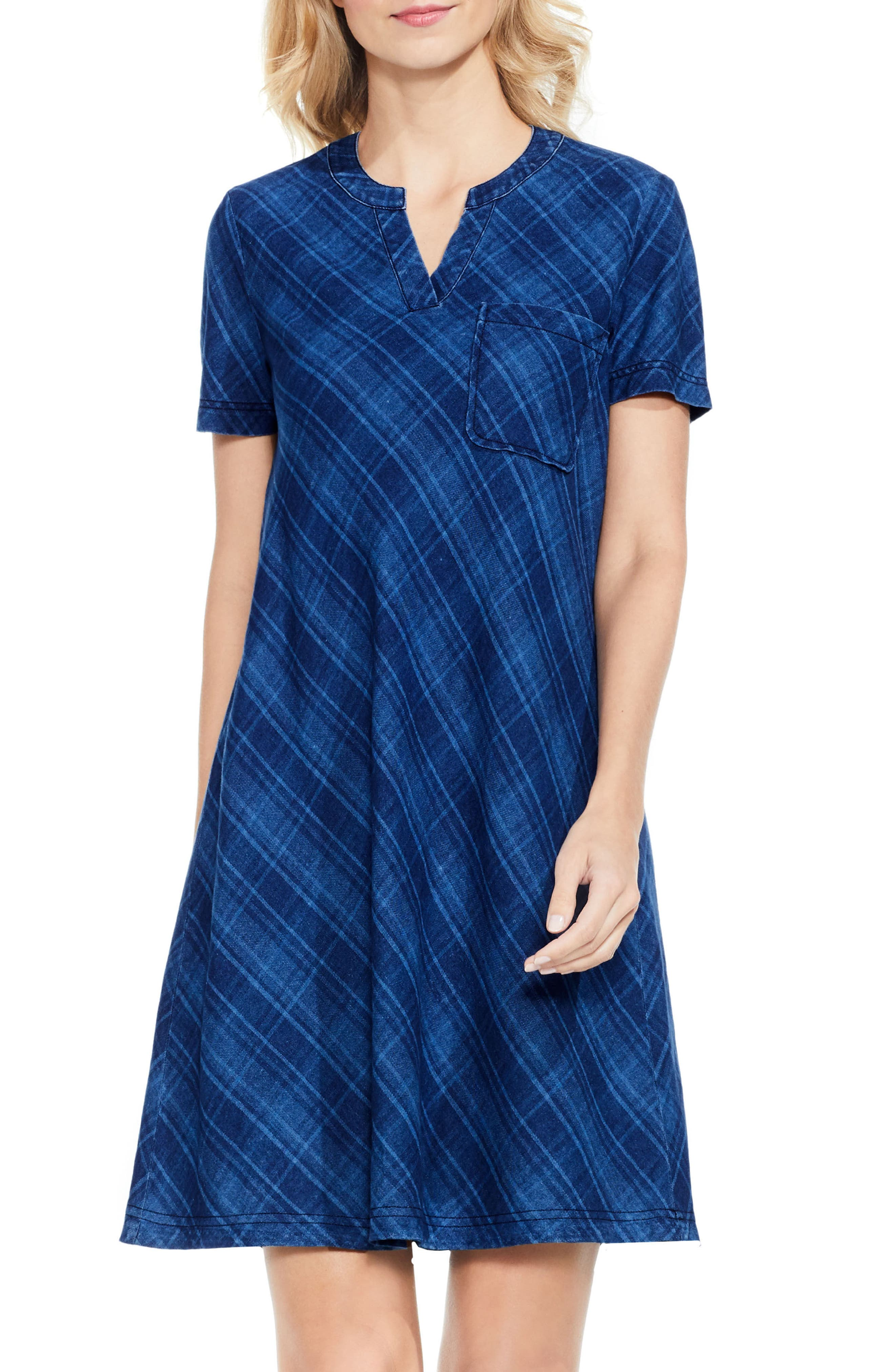 Two by Vince Camuto Plaid Denim A-Line Dress