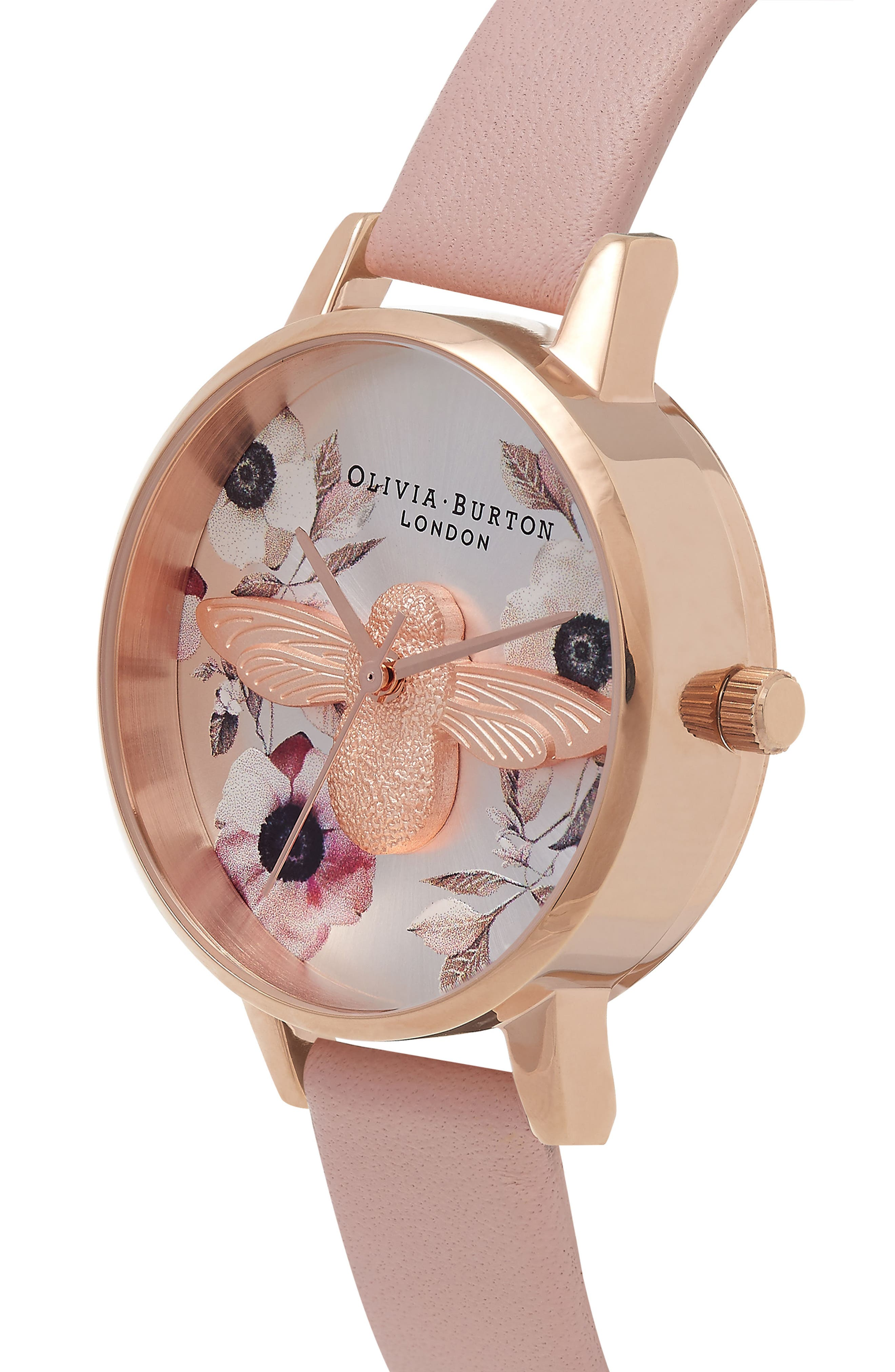 Bee Leather Strap Watch, 30mm,                             Alternate thumbnail 3, color,                             Dusty Pink/ Bee/ Rose Gold