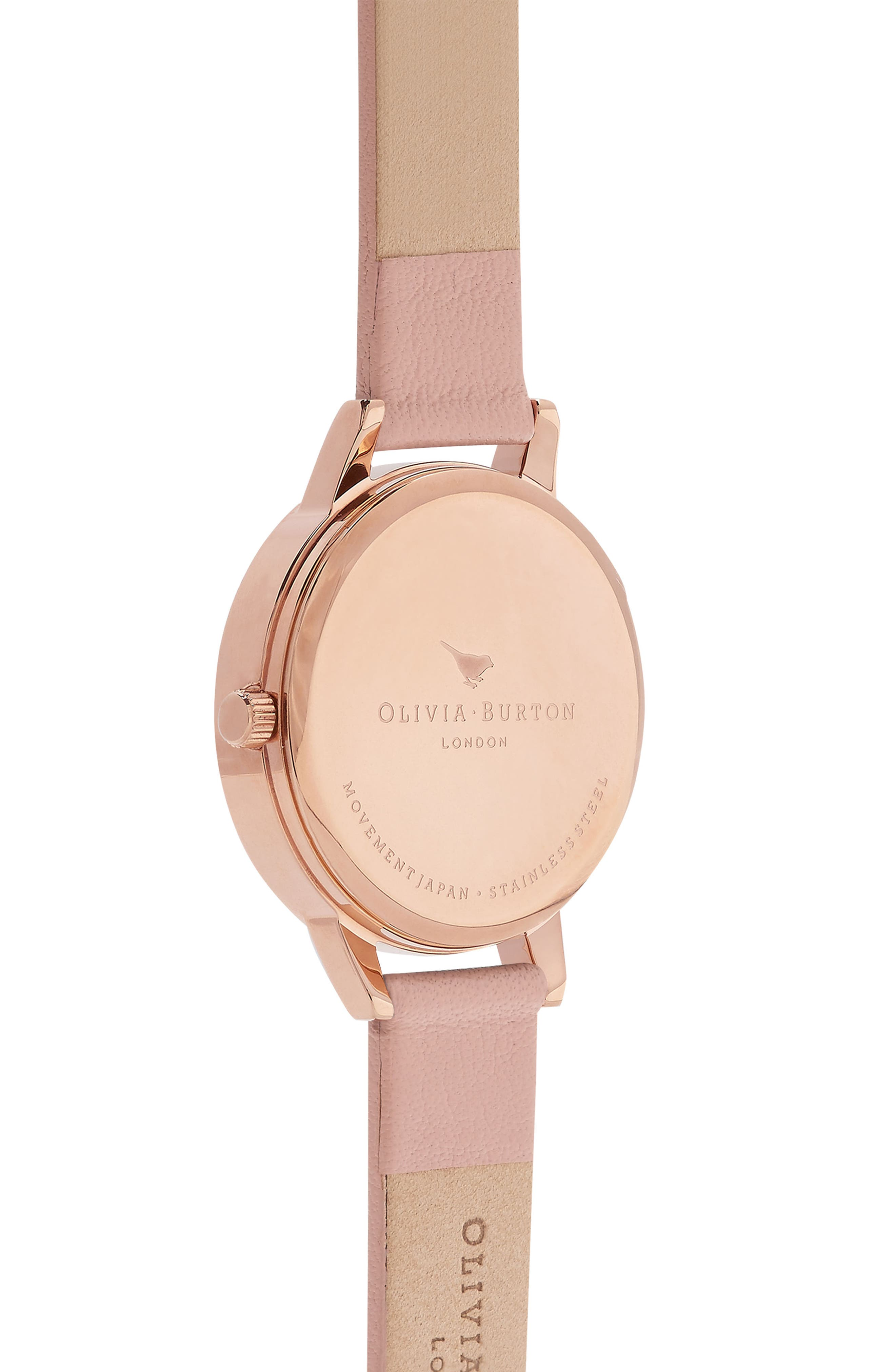 Bee Leather Strap Watch, 30mm,                             Alternate thumbnail 2, color,                             Dusty Pink/ Bee/ Rose Gold