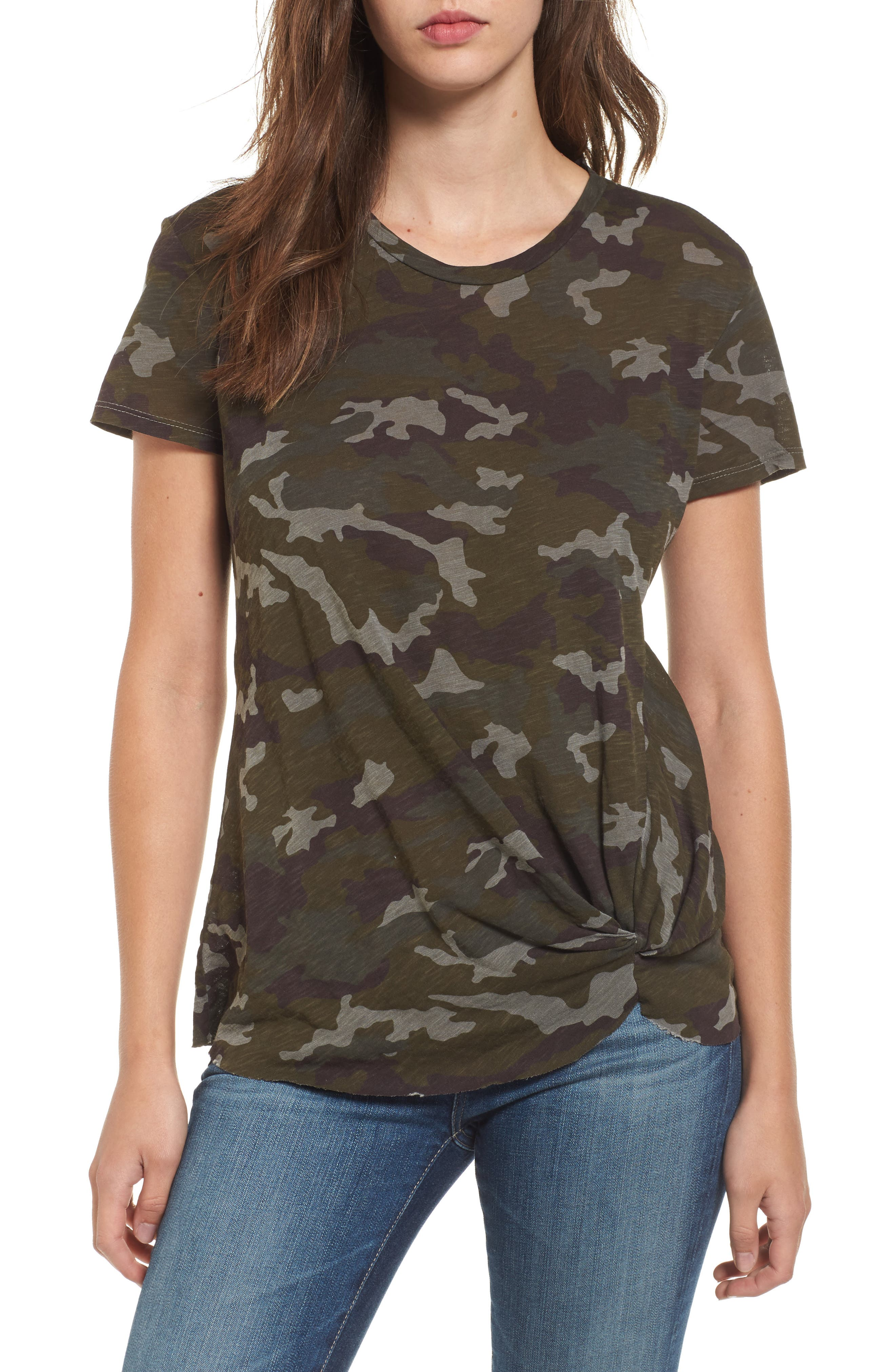 Twist Front Tee,                         Main,                         color, Army