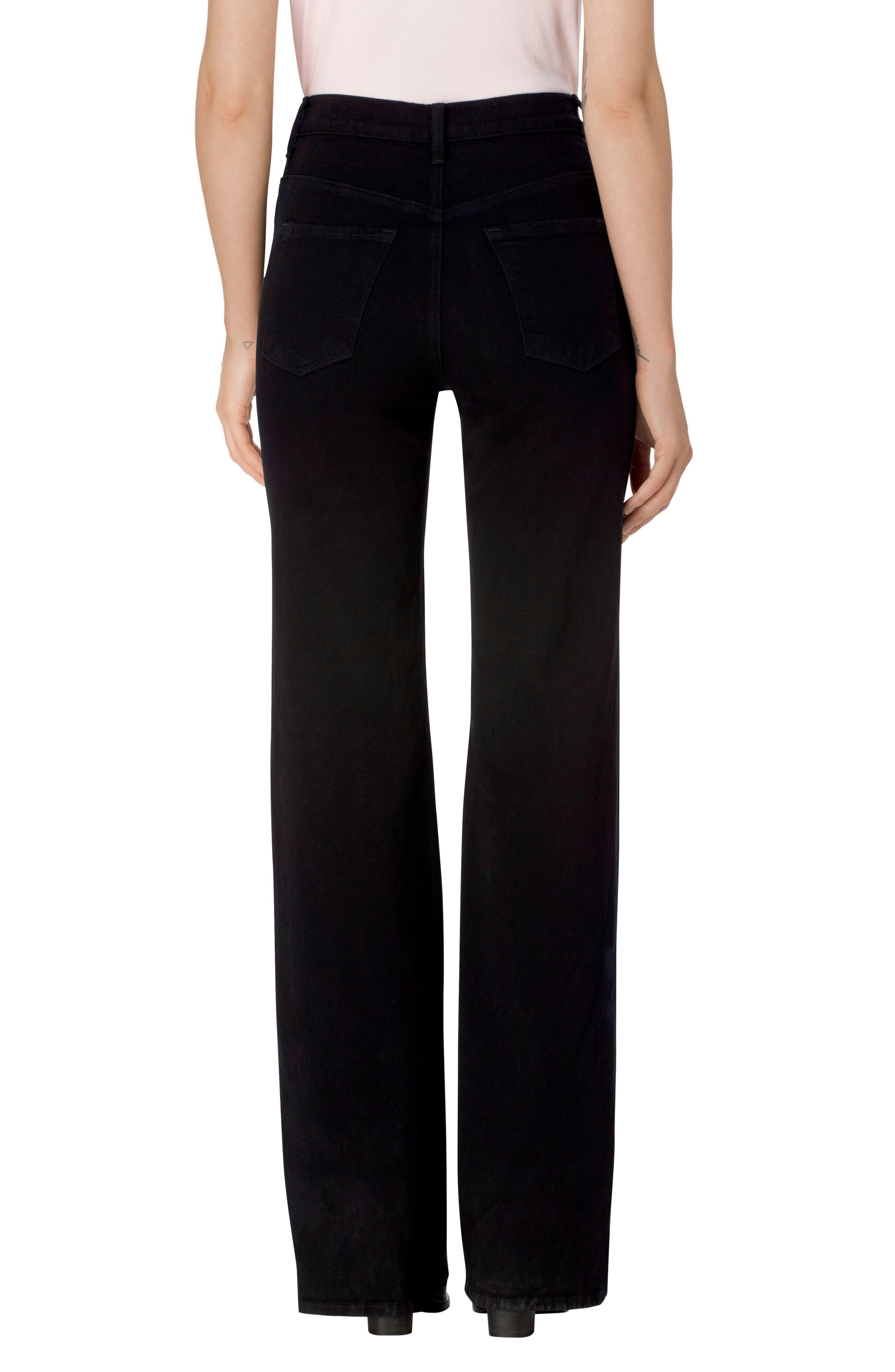 Joan High Waist Wide Leg Jeans,                             Alternate thumbnail 2, color,                             Pitch Black