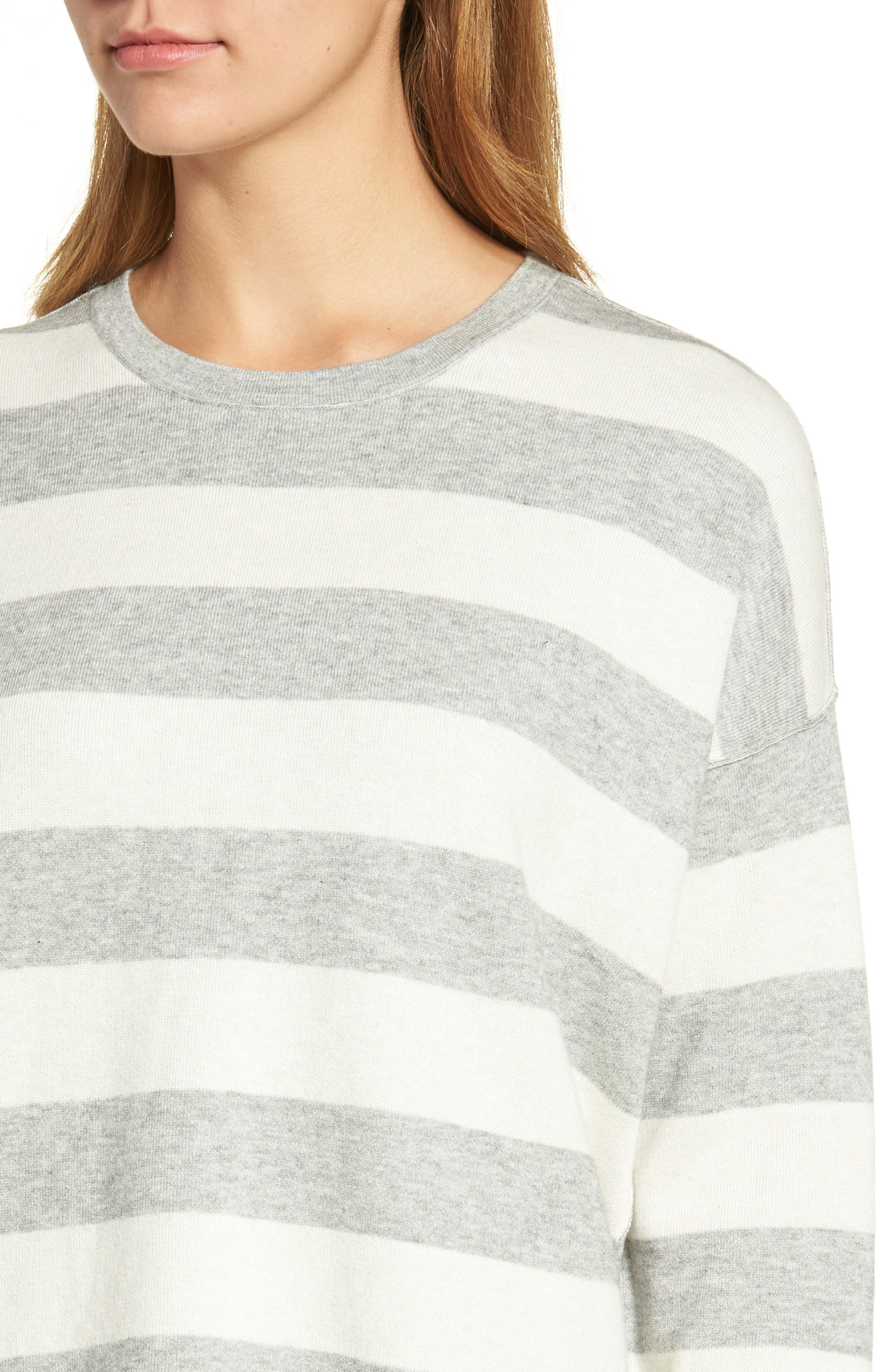 Stripe Organic Cotton Blend Top,                             Alternate thumbnail 4, color,                             Dark Pearl/ Soft White