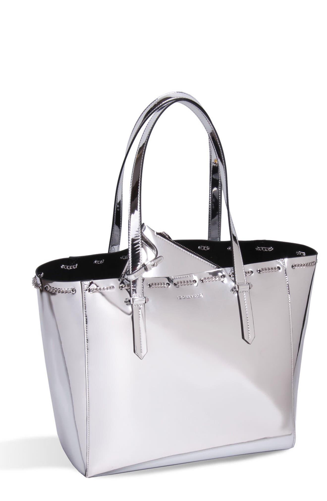 Izzy Chain Faux Leather Tote,                         Main,                         color, Silver Specchio