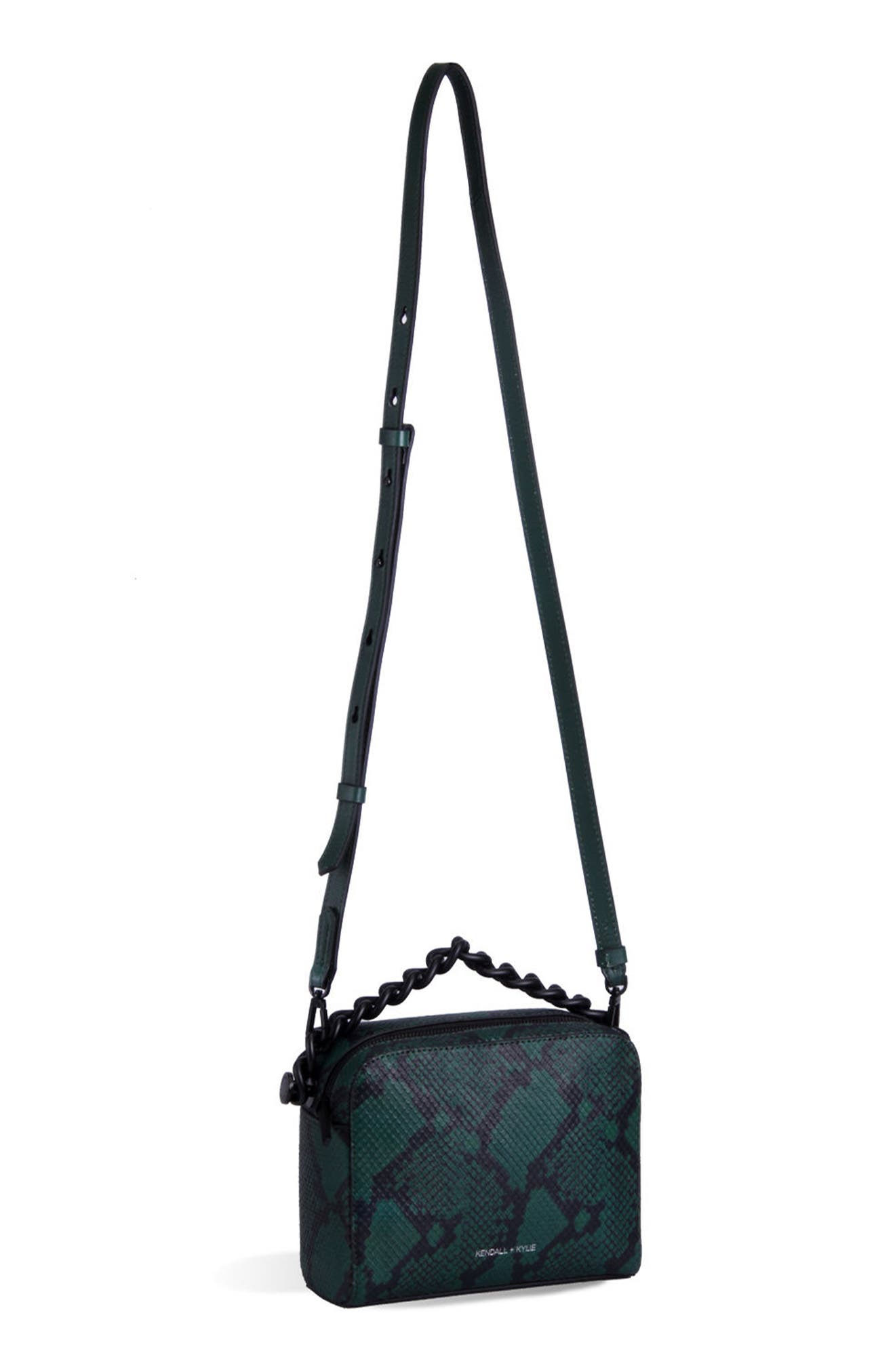 Lucy Leather Crossbody Bag,                         Main,                         color, Dark Green Snake