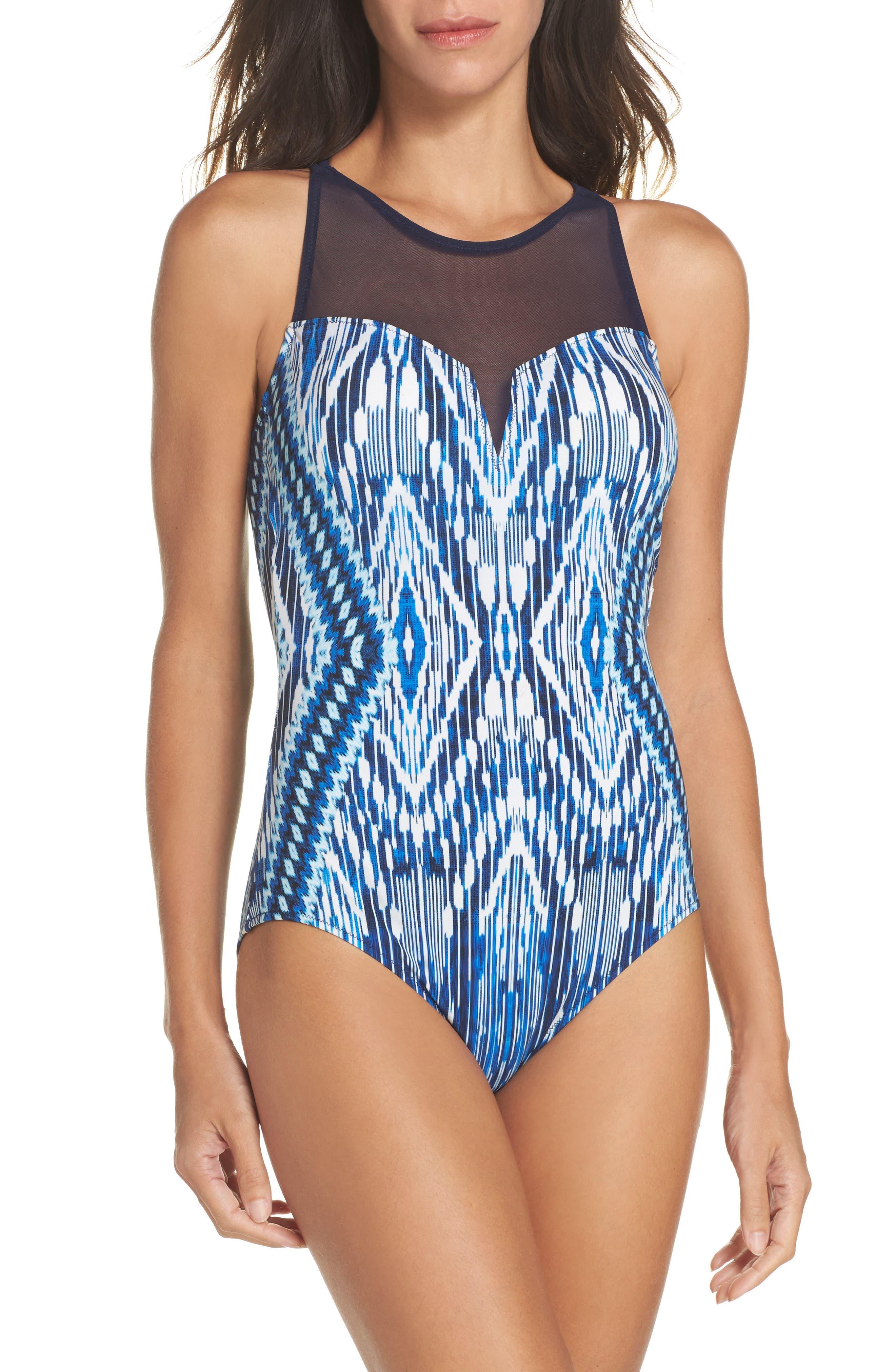 Java Illusion One-Piece Swimsuit,                         Main,                         color, Multi Blue