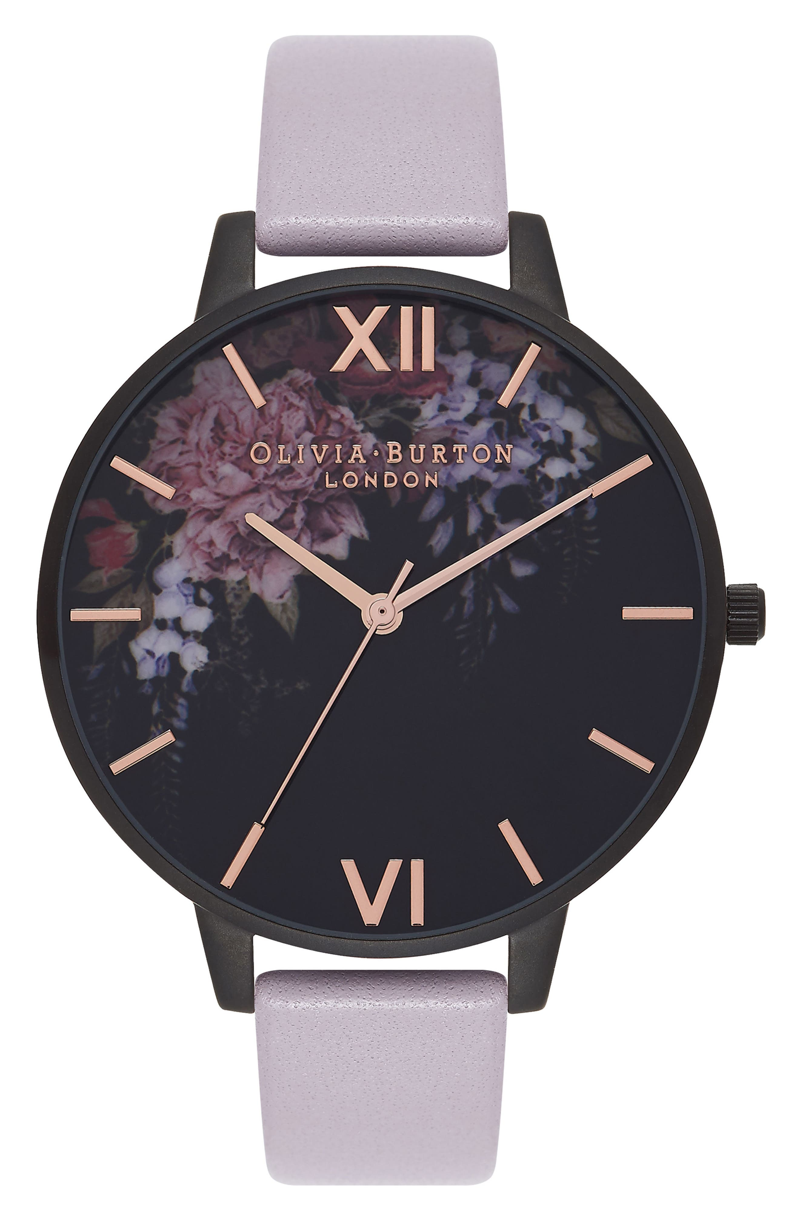 Olivia Burton After Dark Butterfly Leather Strap Watch, 38mm