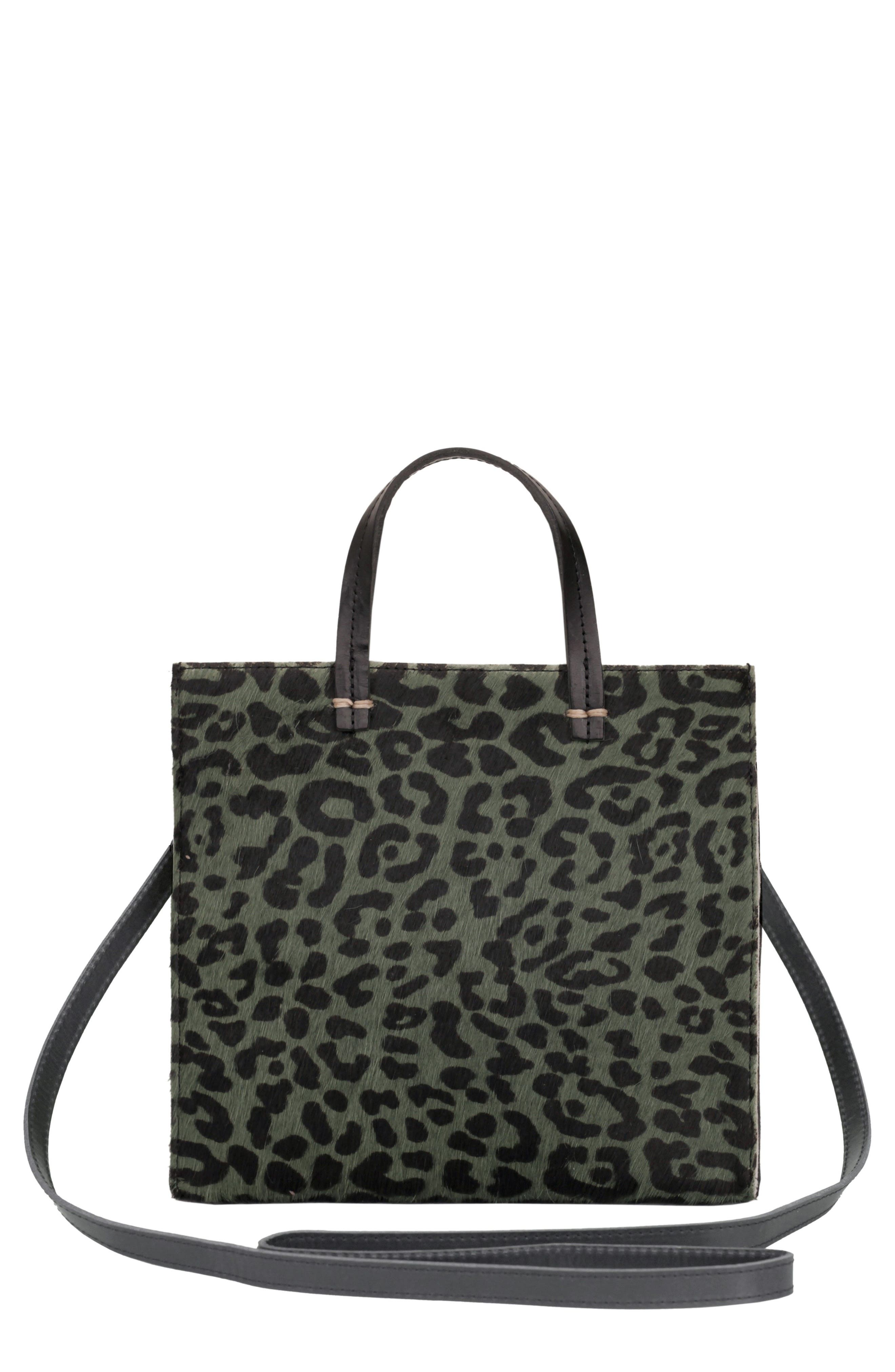 CLARE V. Small Petit Simple Leopard Print Genuine Calf Hair Tote