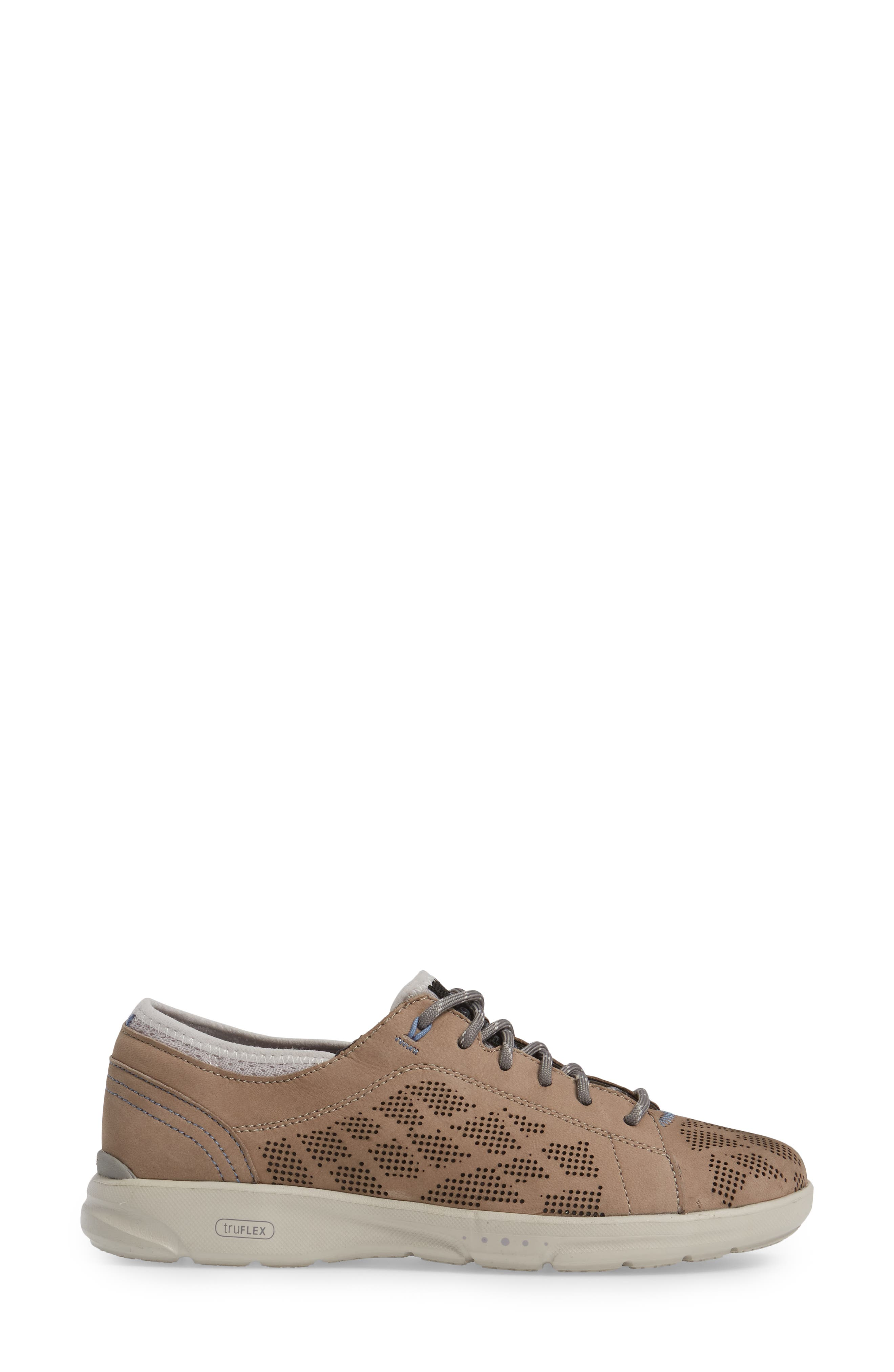 truFLEX Perforated Sneaker,                             Alternate thumbnail 3, color,                             Sand Leather