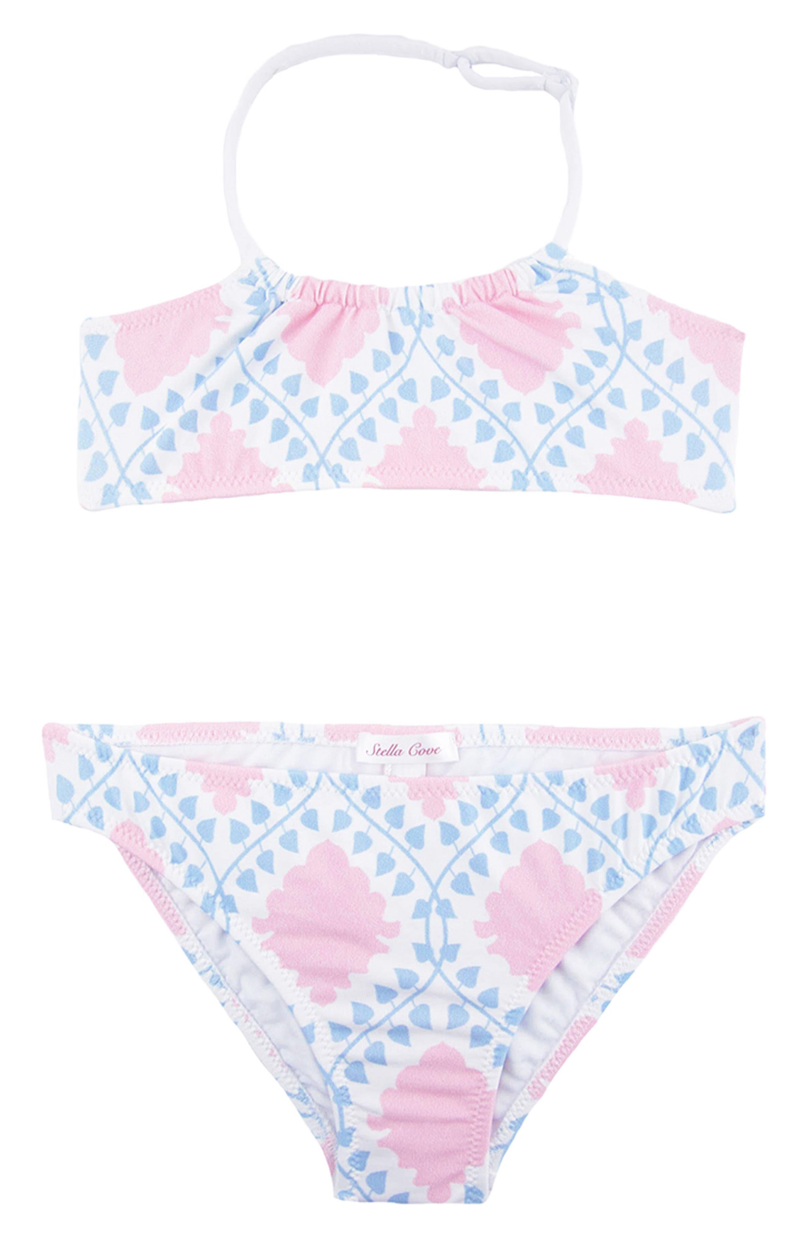 Two-Piece Swimsuit,                         Main,                         color, Light Blue